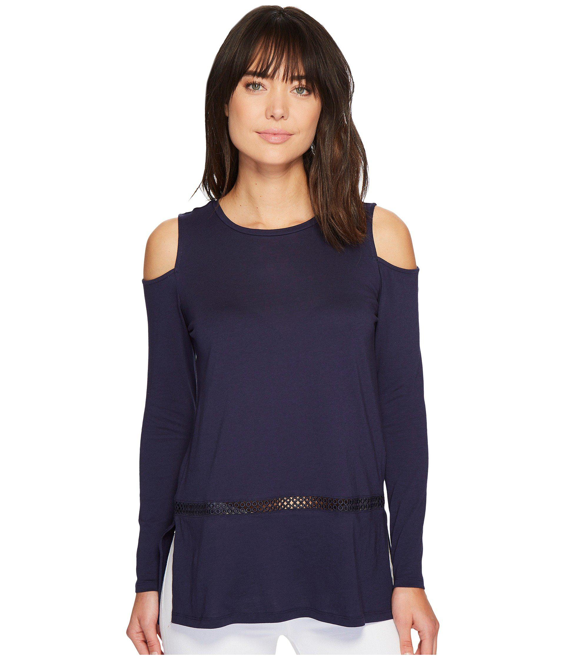 f6e010b82c8771 Lyst - MICHAEL Michael Kors Long Sleeve Cold Shoulder Insert Top in Blue