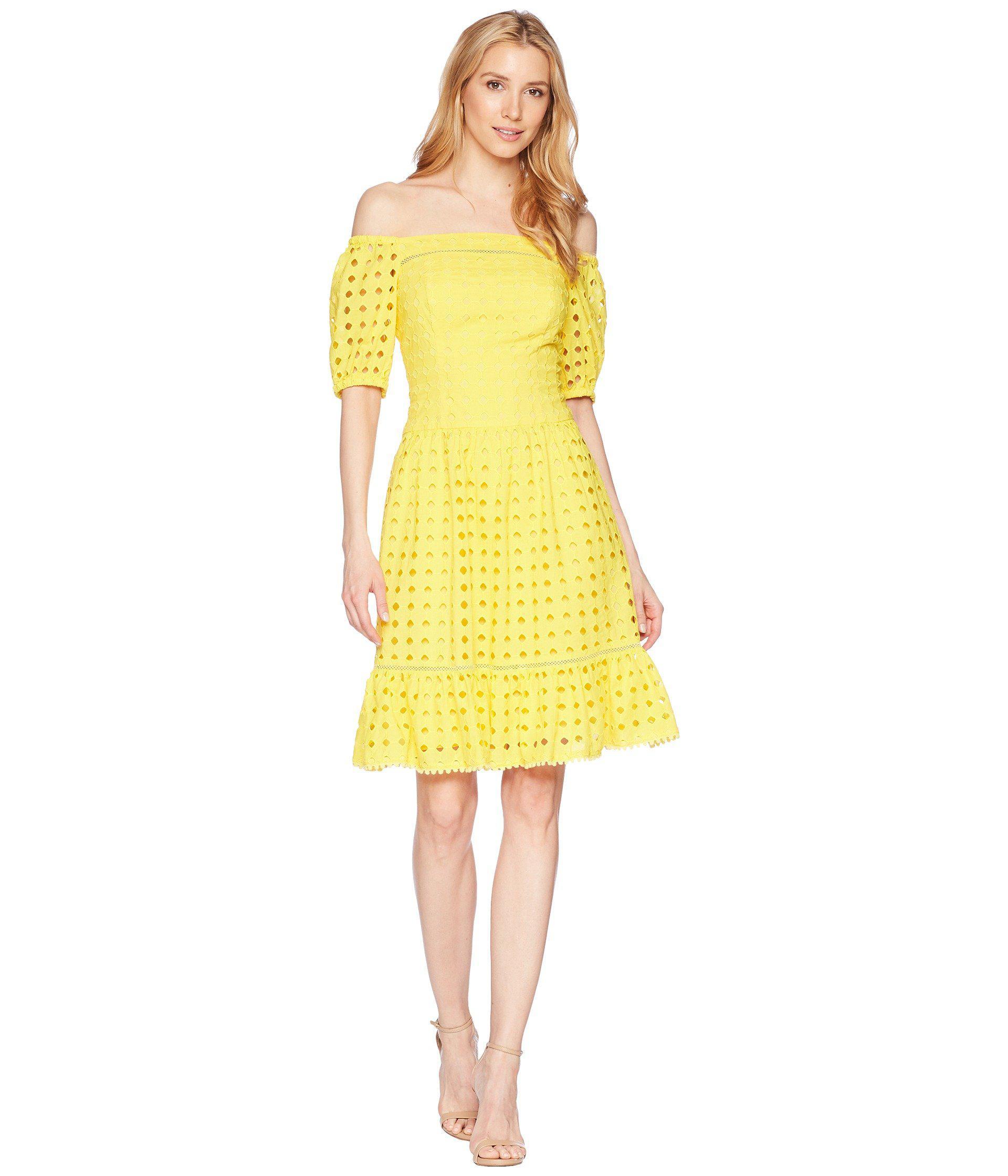 Donna Morgan Women S Yellow Short Sleeve Off The Shoulder Eyelet Dress