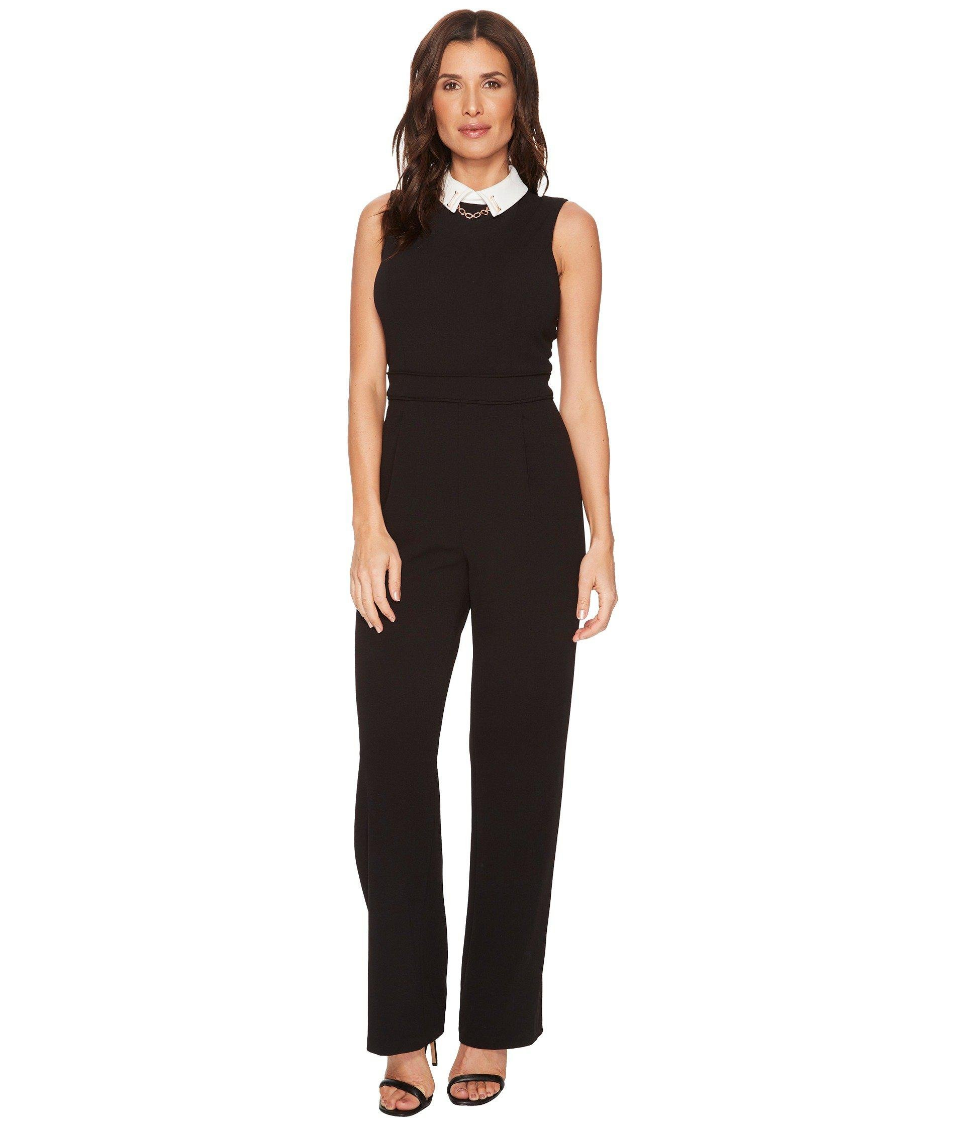 fa928a310e4 Lyst - Ivanka Trump Scuba Crepe White Collar Jumpsuit in Black ...