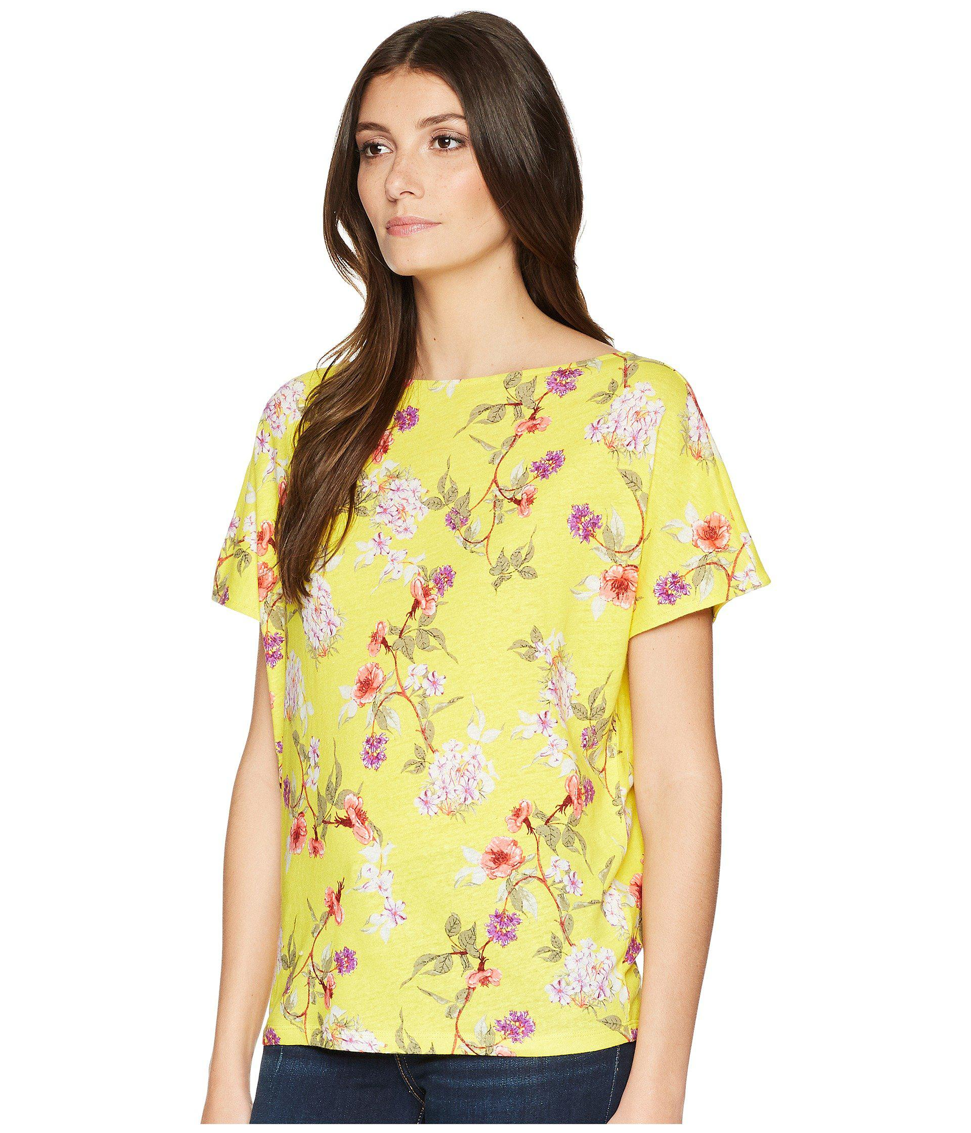 121da778176 Lyst - Lauren by Ralph Lauren Floral Linen-blend Top in Yellow - Save 42%