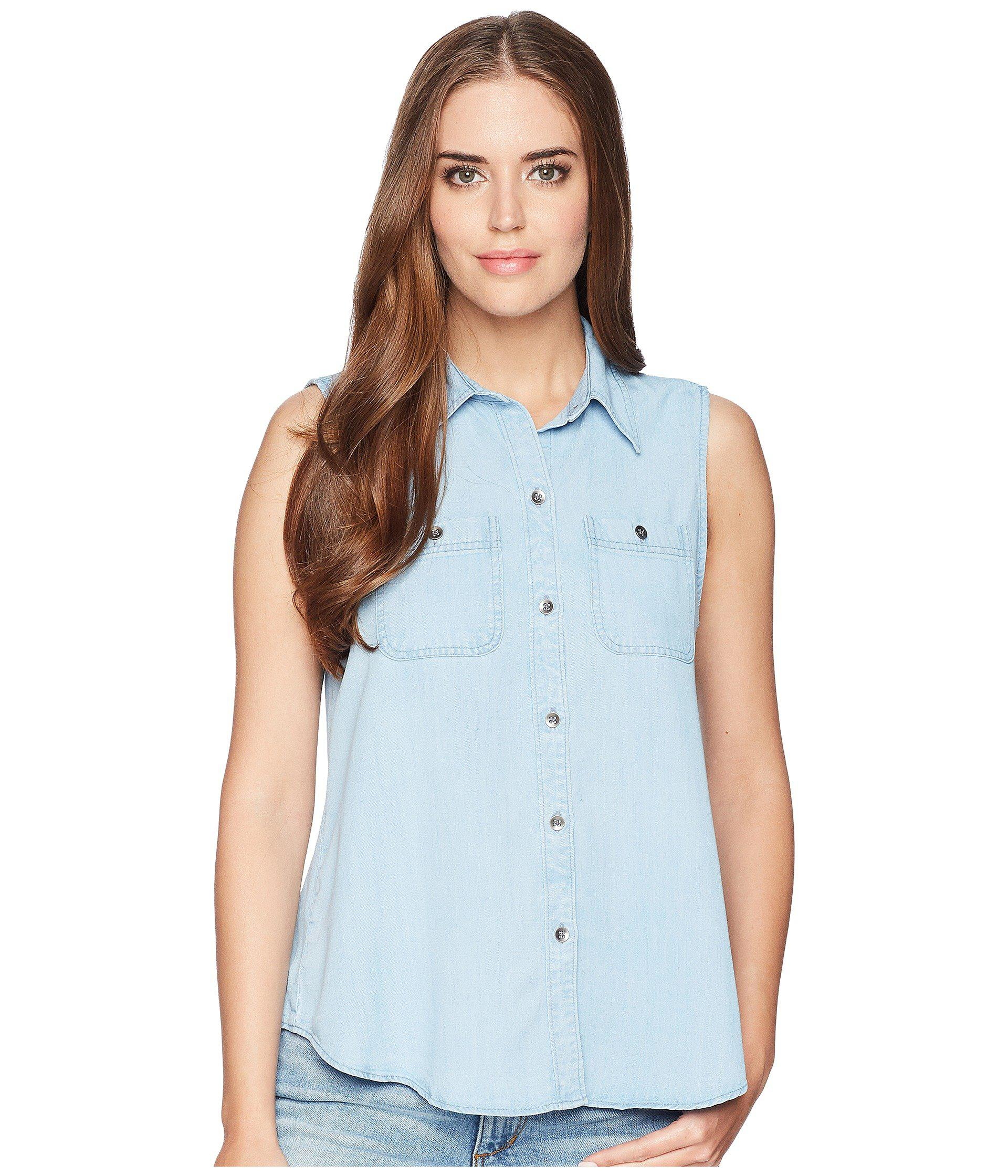 f24ed20dd0b Lyst - Chaps Chambray Sleeveless Shirt in Blue - Save ...