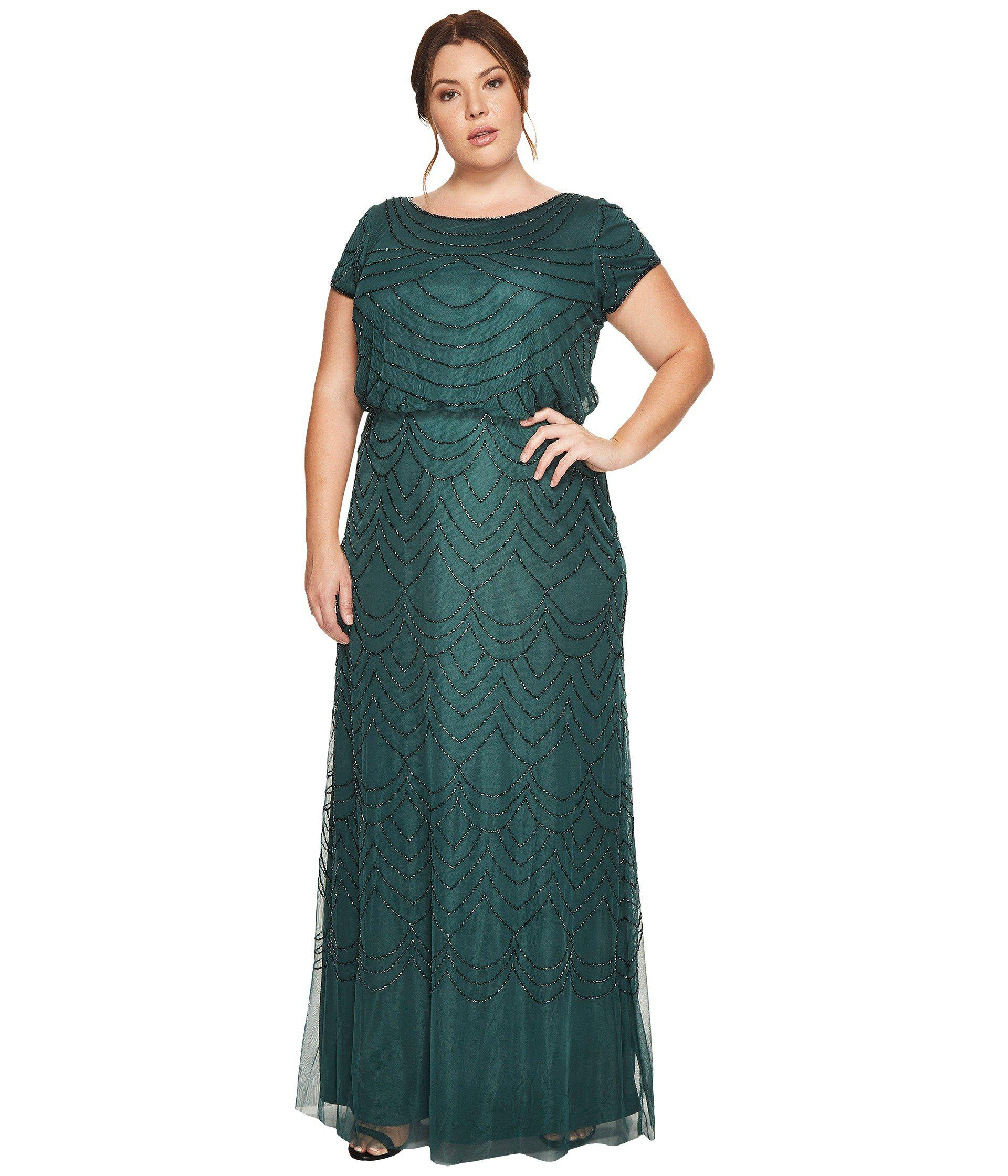 Lyst - Adrianna Papell Plus Size Short Sleeve Blouson Beaded Gown in ...