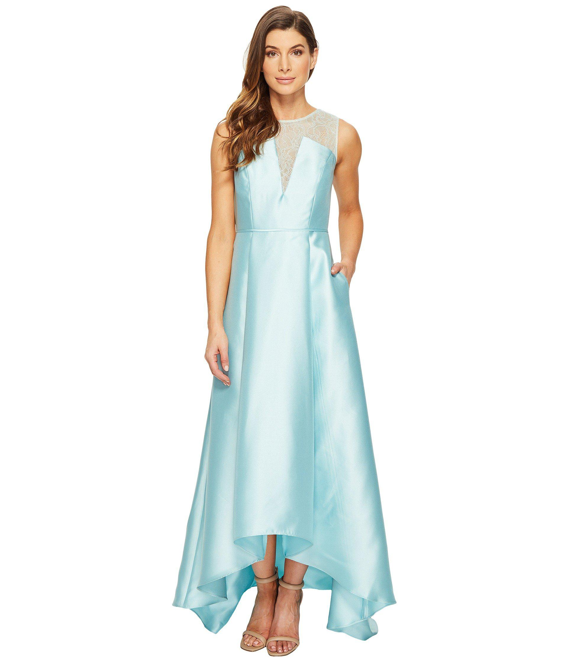 18bc6980e23c6 Lyst - Adrianna Papell Lace Bodice Yoke And Mikado Combo Ball Gown ...