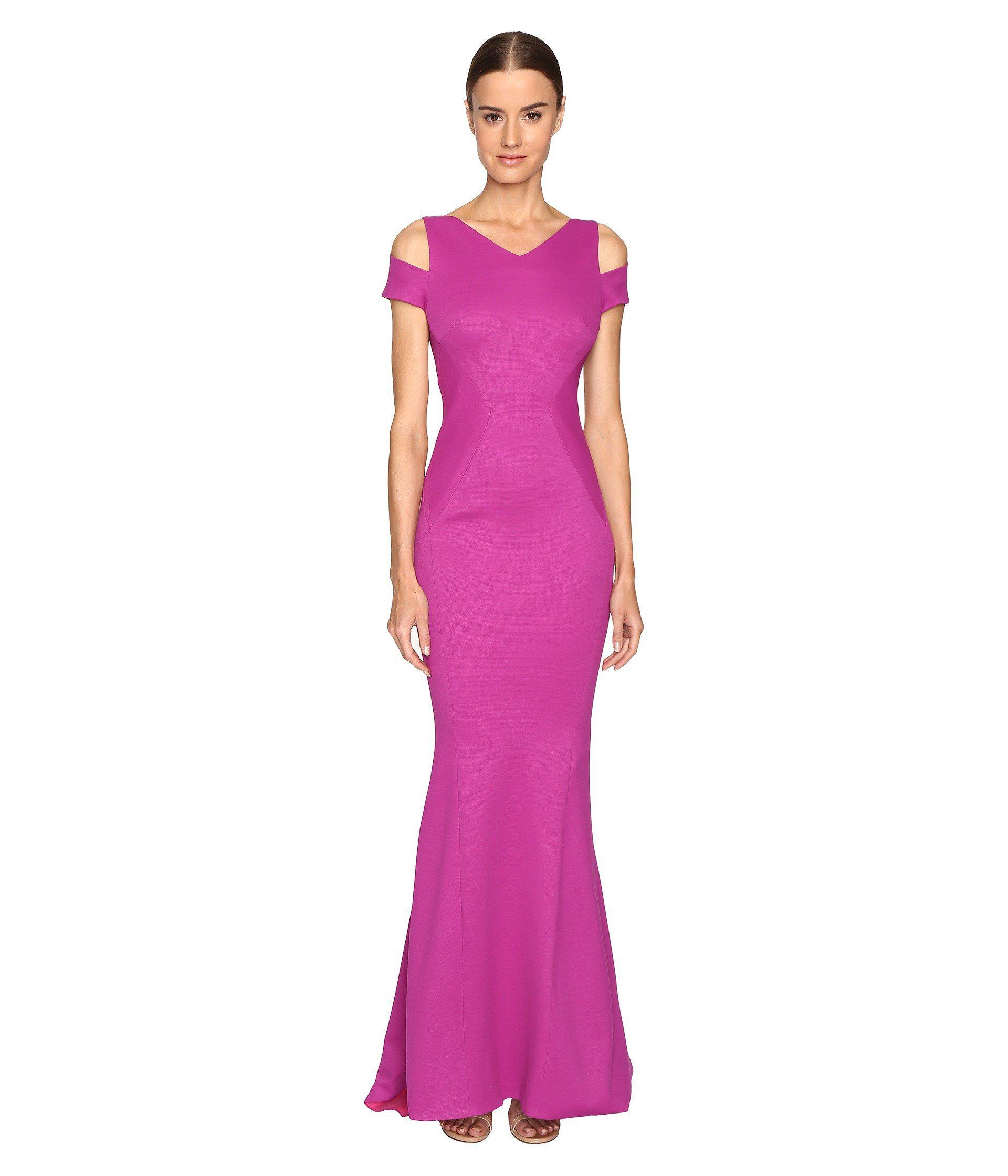 Lyst - Zac Posen Bondage Jersey Cold Shoulder Gown in Purple