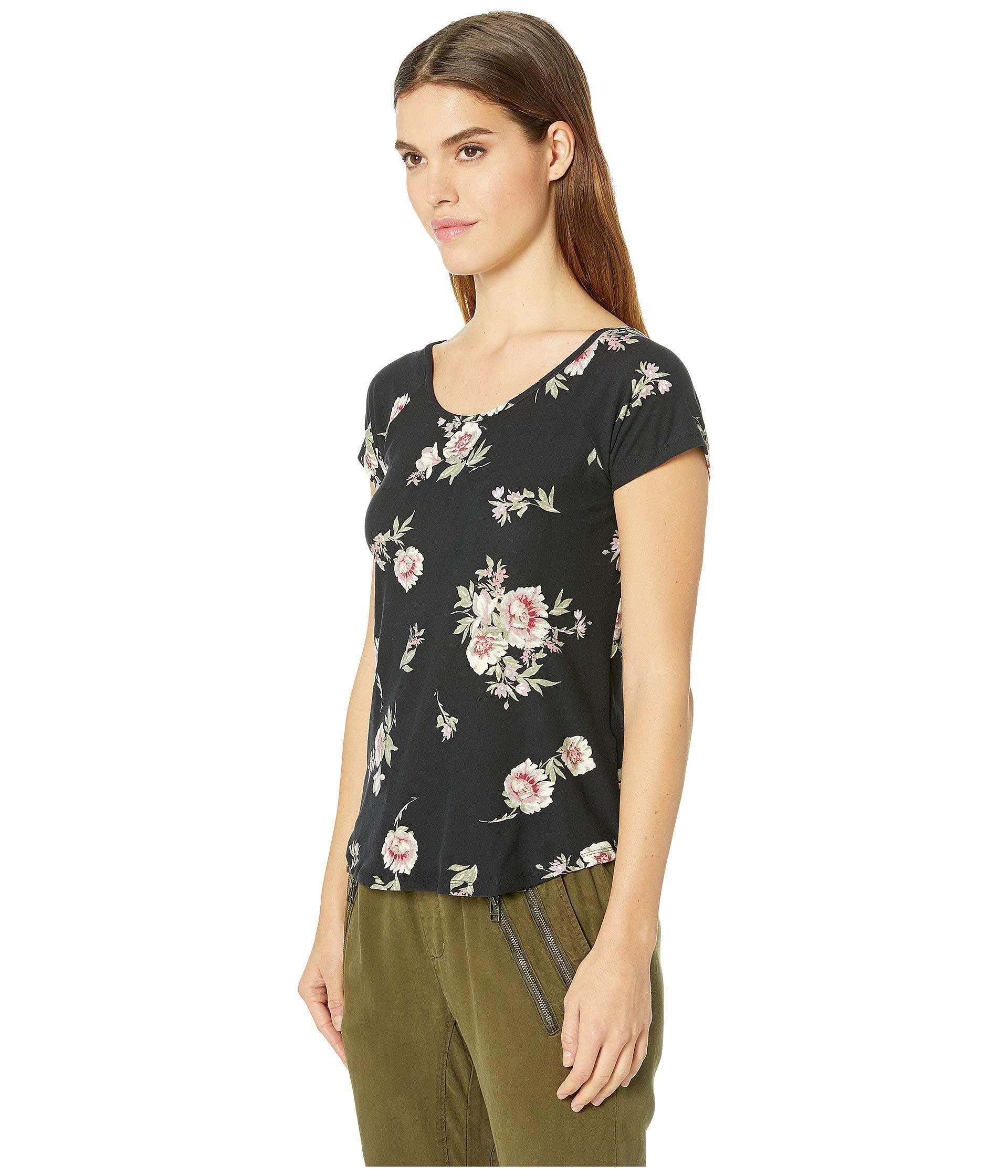 48e3f5d1053 Lyst - Pink Rose Raglan Short Sleeve Shirttail Top W  Back Double  Crisscross in Black