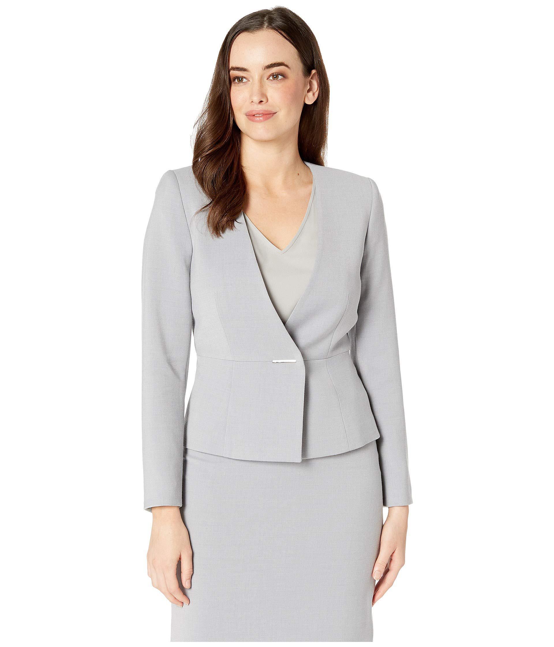 fcc27bcbd622a Tahari Collarless Bar Snap Closure Skirt Suit in Gray - Lyst