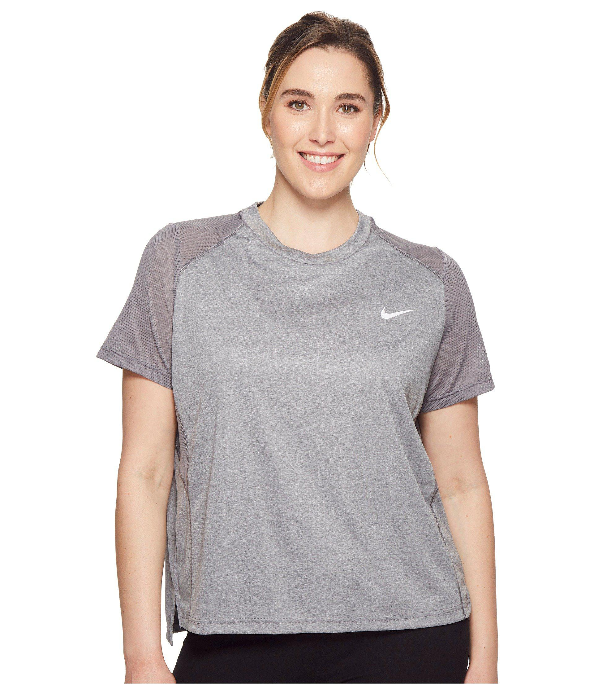 4dd8b9de Lyst - Nike Dry Miler Short-sleeve Running Top (sizes 1x-3x) in Gray ...