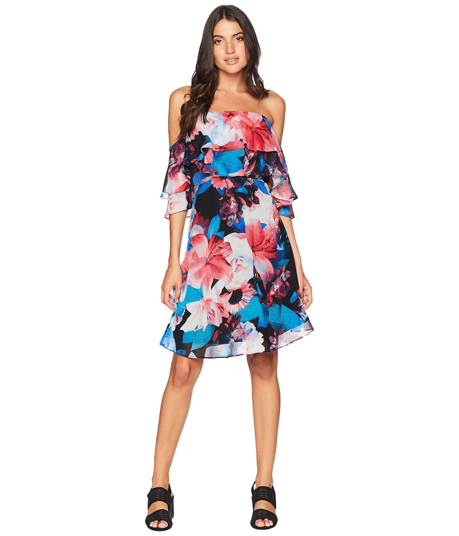 bdb6dcba7f71 Calvin Klein. Women s Tiered Off The Shoulder Flower Print Dress Cd8b32ng