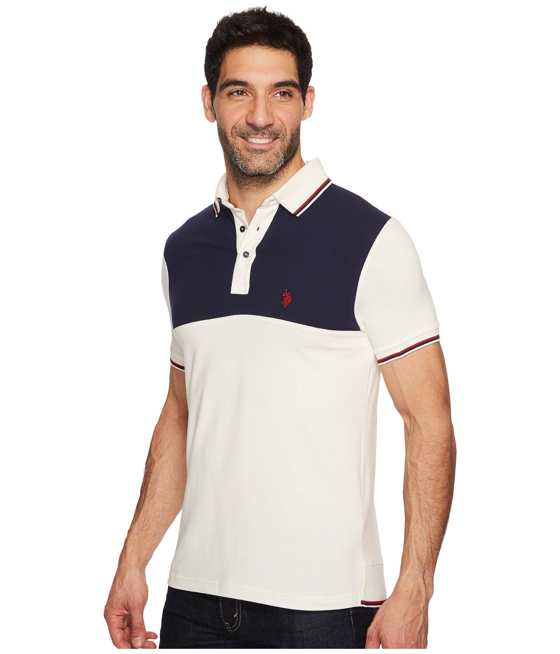 1dabd1b91464 Lyst - U.S. POLO ASSN. Slim Fit Color Block Short Sleeve Stretch ...