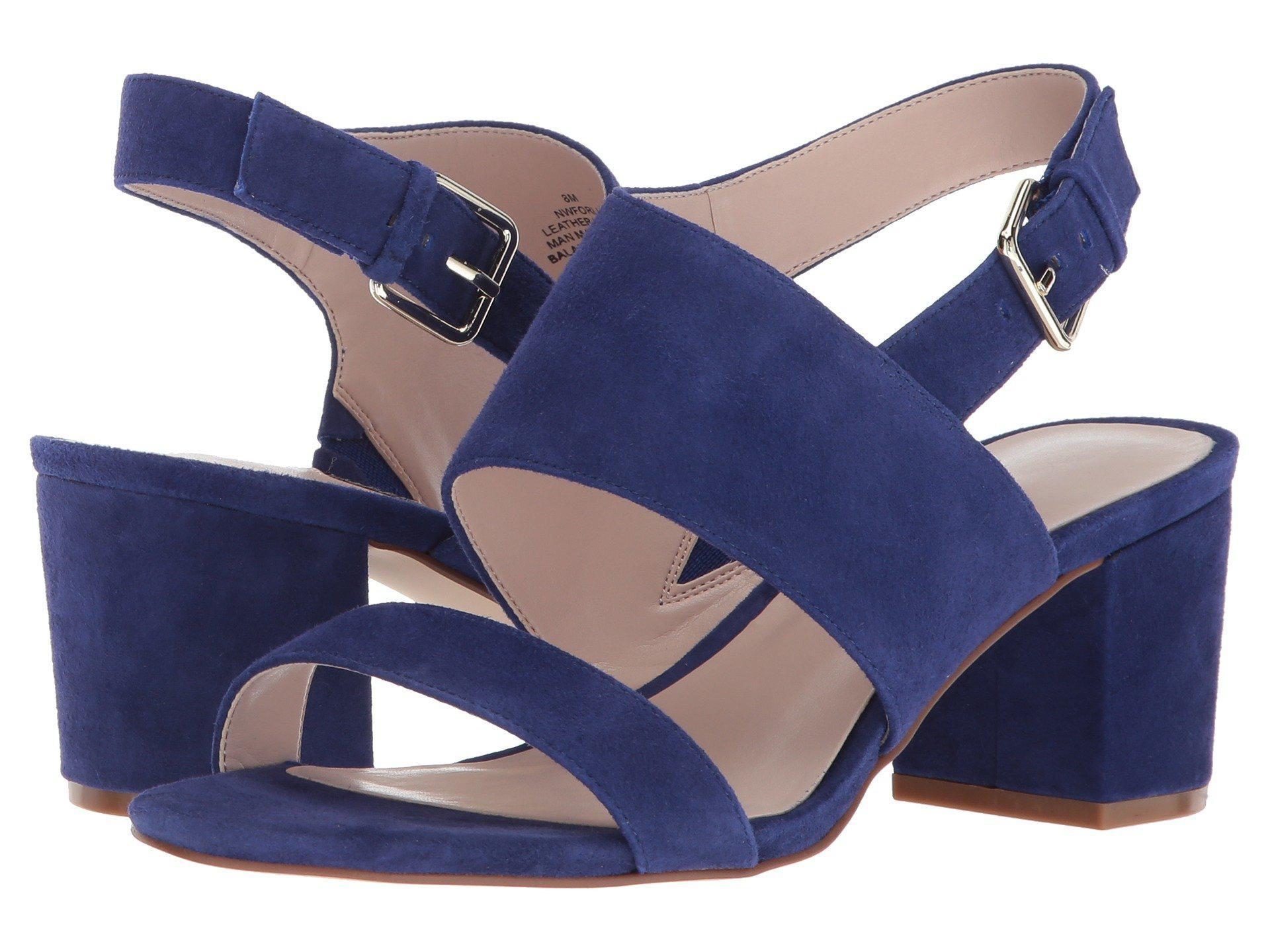 483b356f1280 Lyst - Nine West Forli Block Heel Sandal in Blue - Save 55%