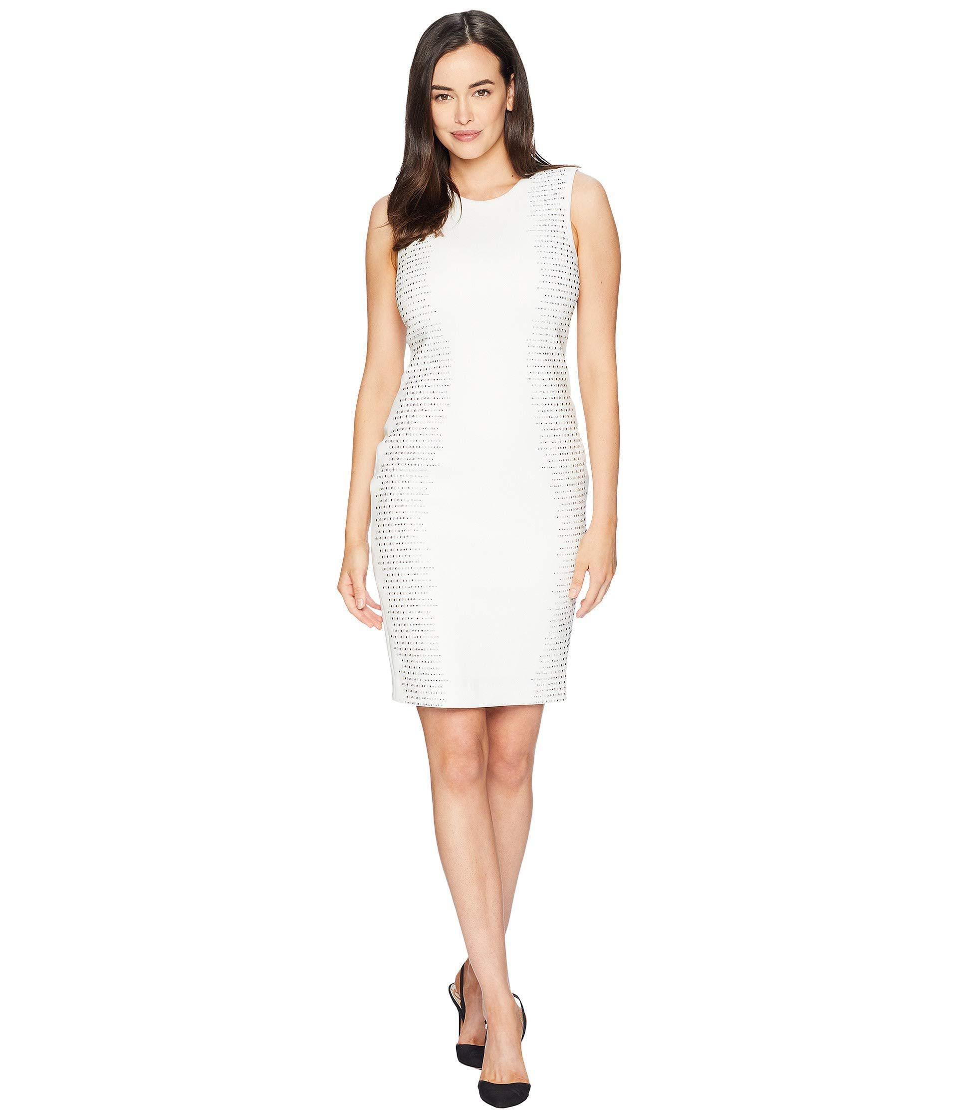 fe5ff9bf40d9 Calvin Klein Embellished Side Panels Sheath Dress Cd8m18tp in White ...
