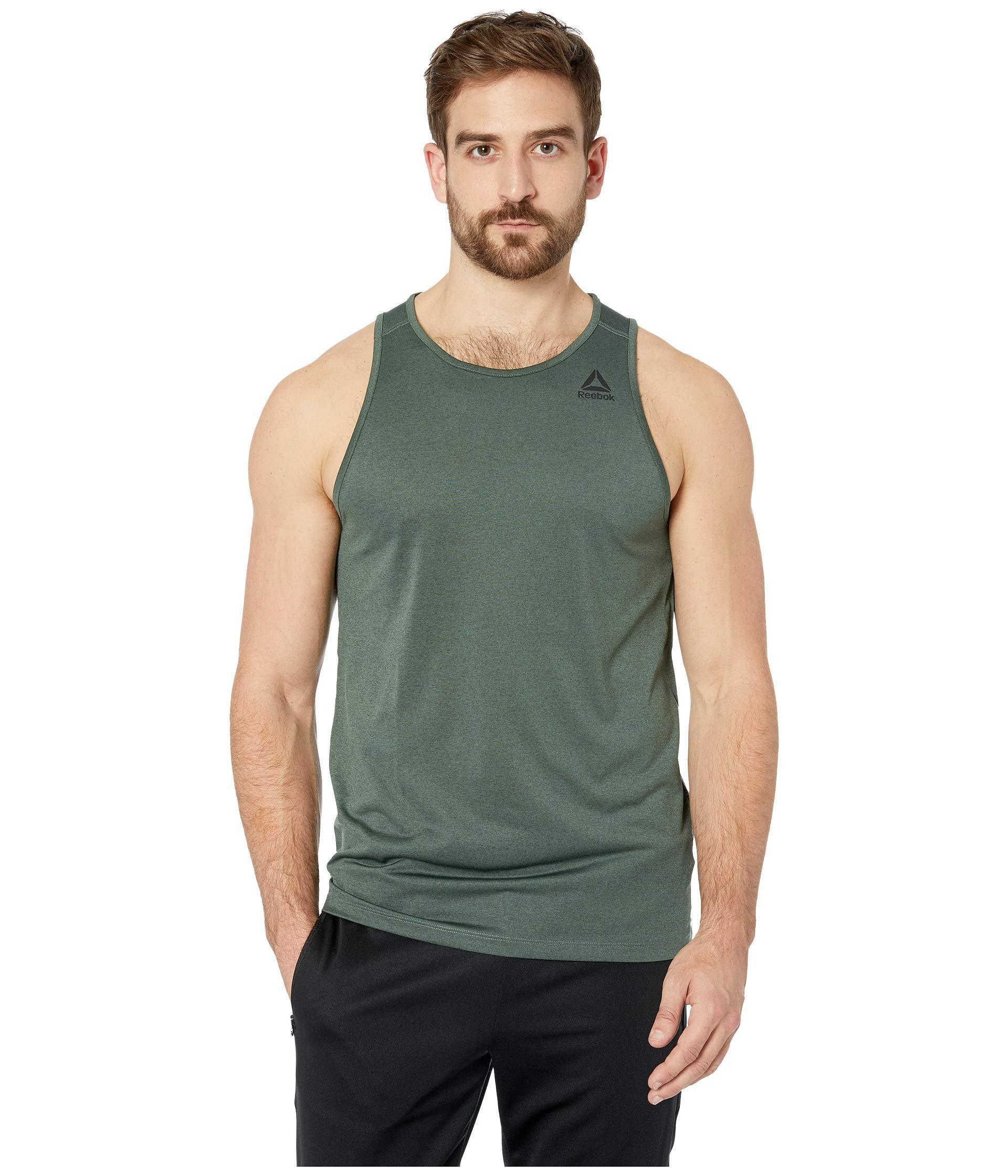 fe36bda087a6d8 Reebok - Green Melange Sleeveless Tee for Men - Lyst. View fullscreen