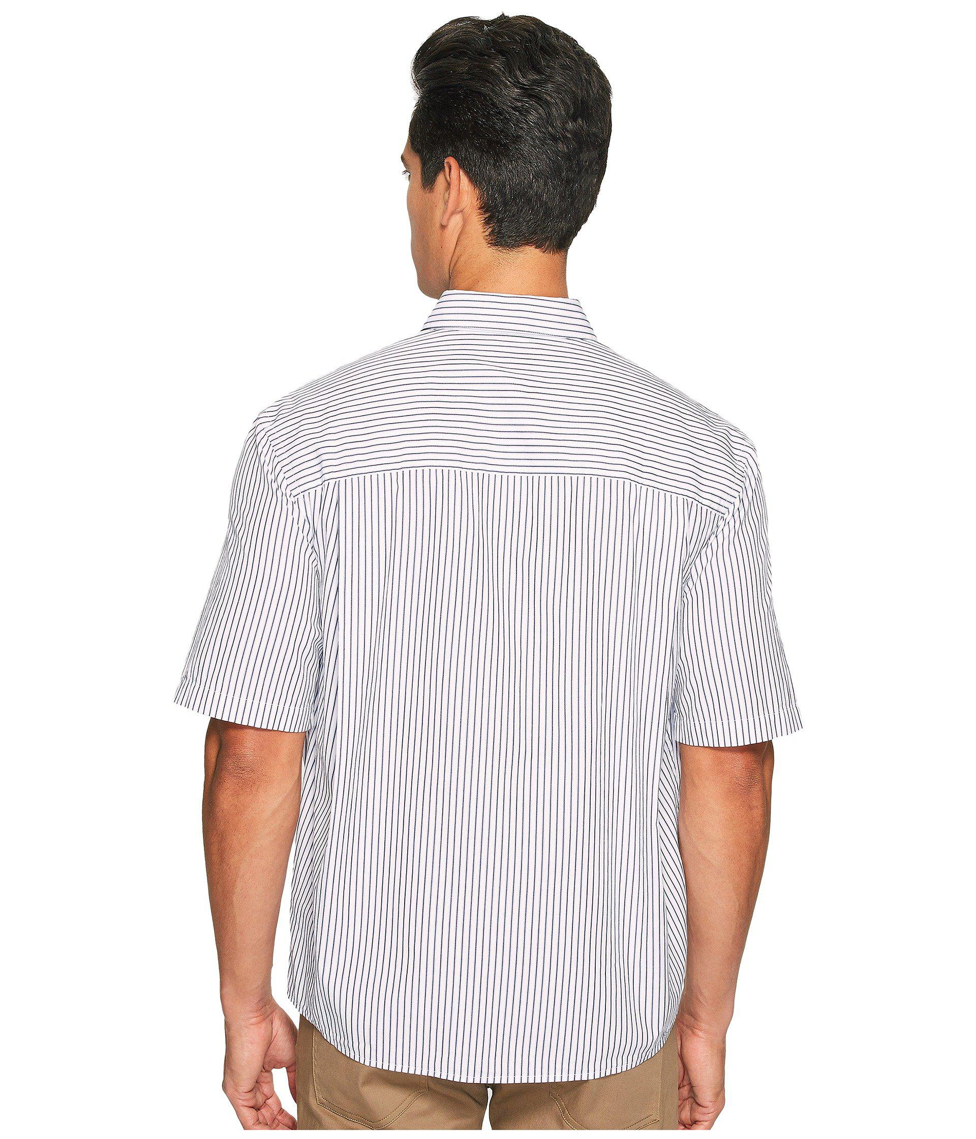 7bc302a2 Vince Deep Pleat Boxy Fit Short Sleeve Pinstripe Button Up in Blue ...