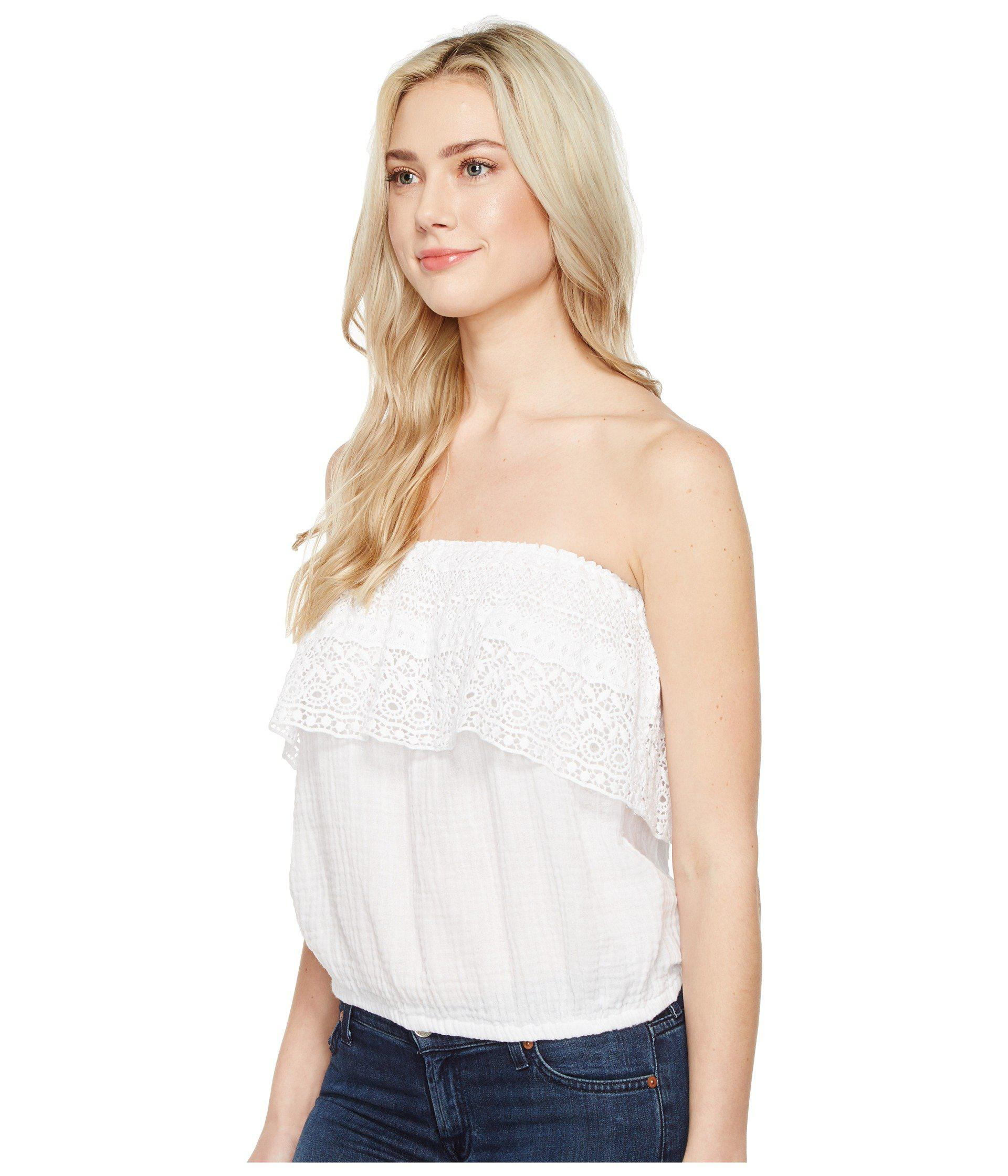535c1eb9d58 Lyst - Michael Stars Double Gauze Tube Top W  Lace in White