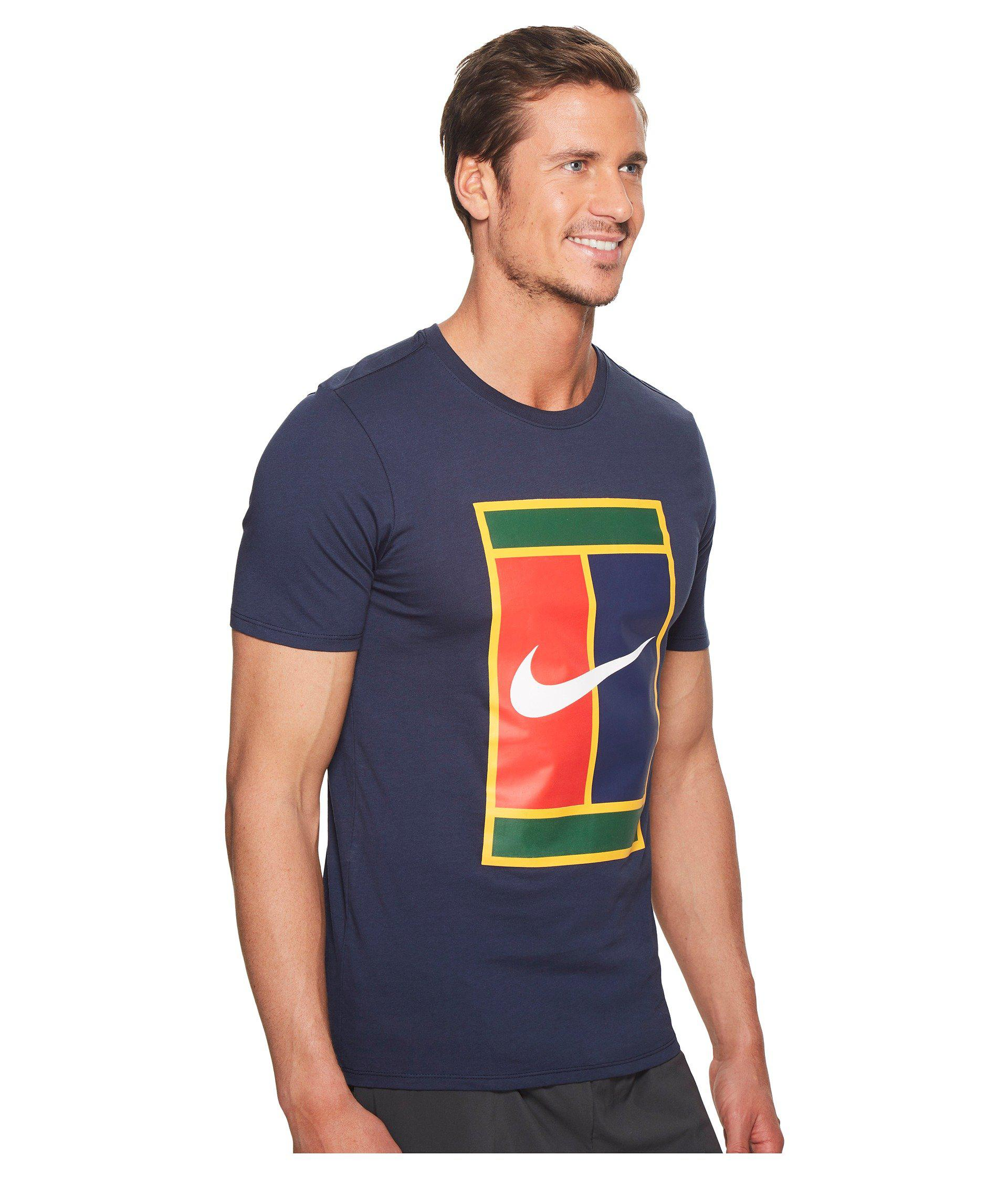 e8a264c3 Nike Court Heritage Logo Tennis Tee in Blue for Men - Lyst