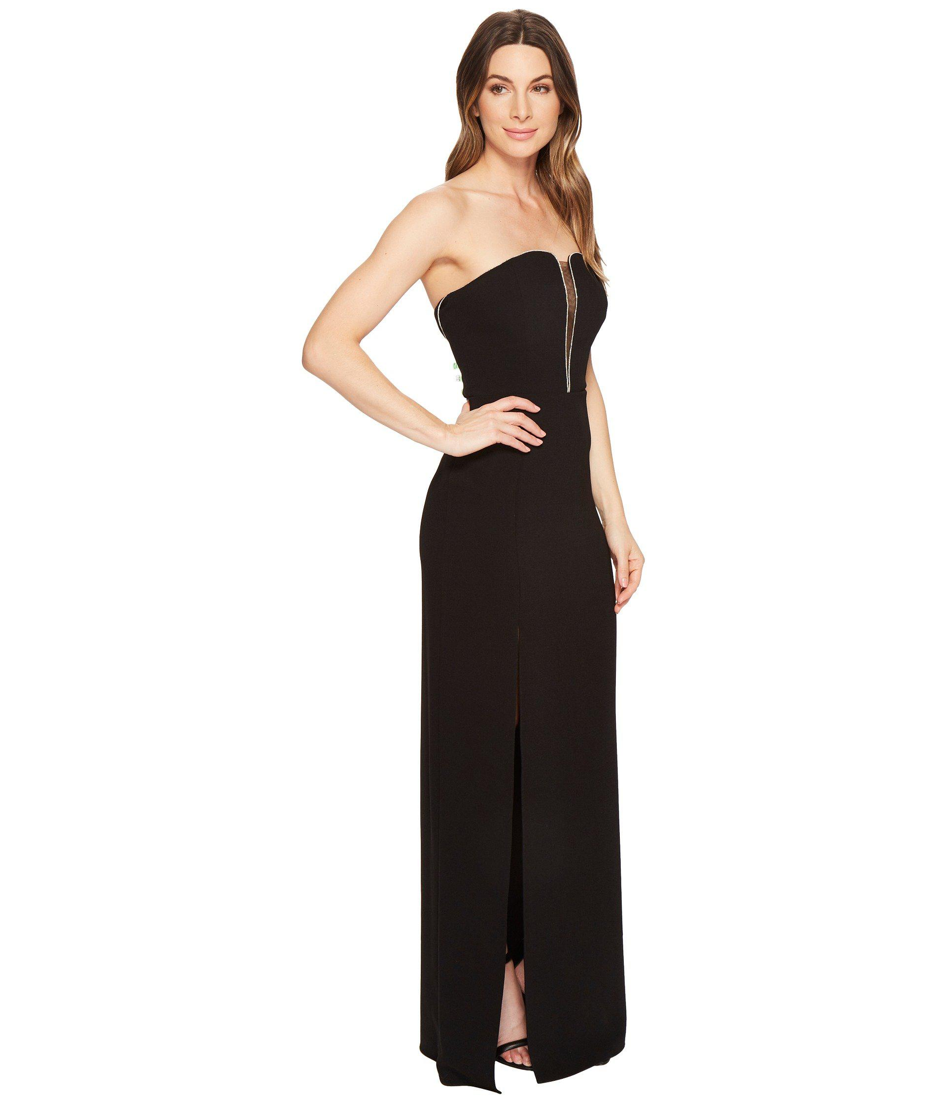91dc2fc0cc70 Halston Strapless Deep V-neck Fitted Gown in Black - Lyst