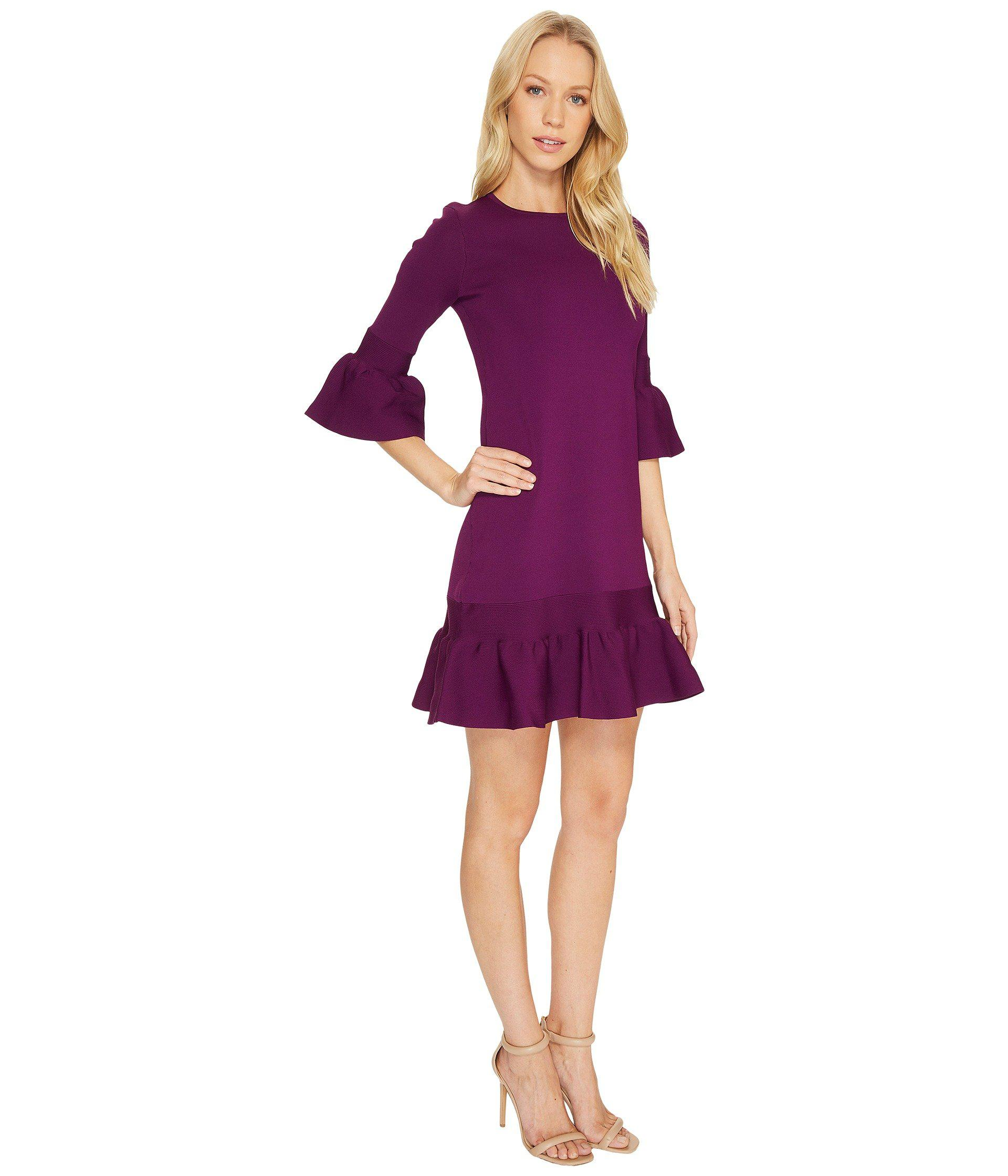 c7327c91c717 Lyst - Ted Baker Tynia Peplum Sleeve Knitted Dress in Purple
