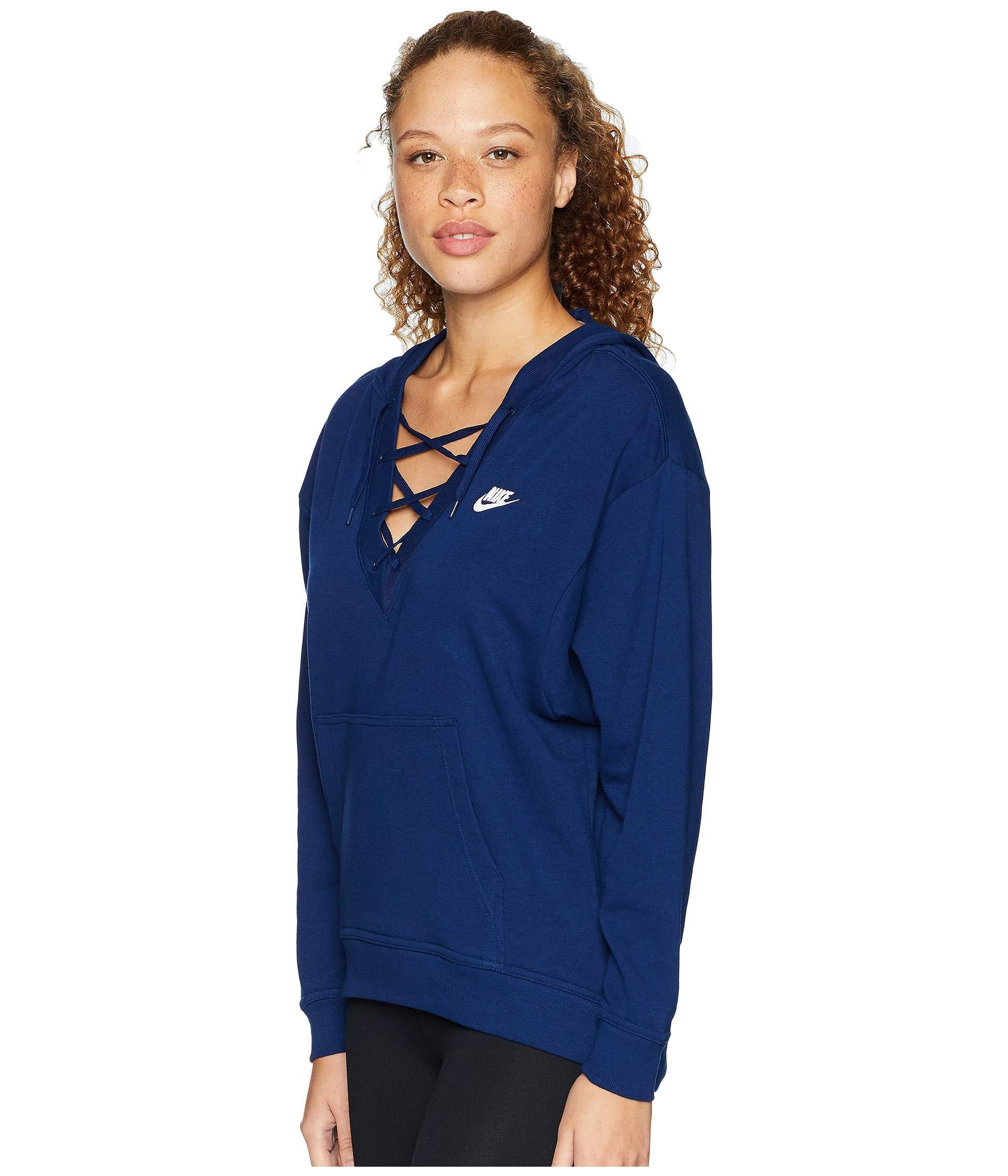 8bc5827f910c Lyst - Nike Club Lace-up Hoodie in Blue