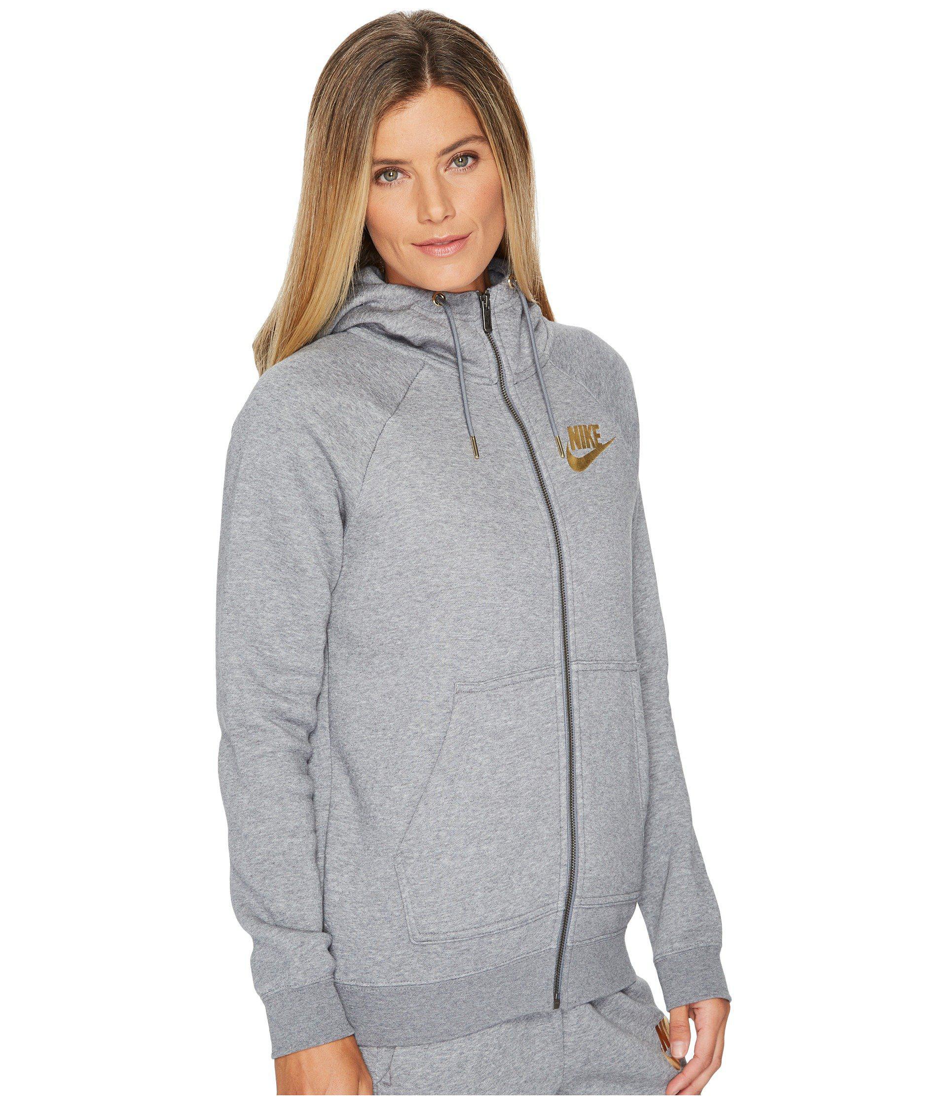 71b6b8634b3e Lyst - Nike Sportswear Rally Metallic Full-zip Hoodie in Gray