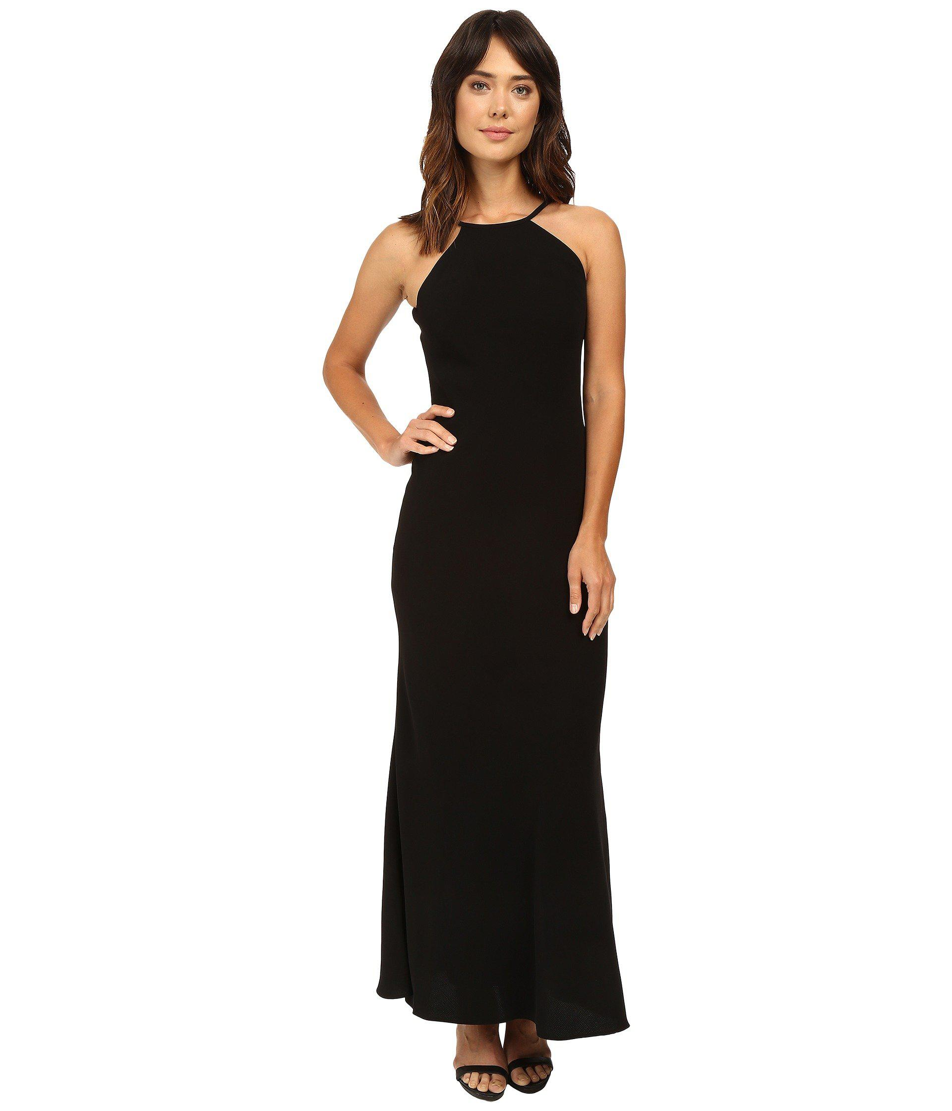 2d3ac5739383 Lyst - Calvin Klein Halter Neck Crepe Gown in Black - Save 44%