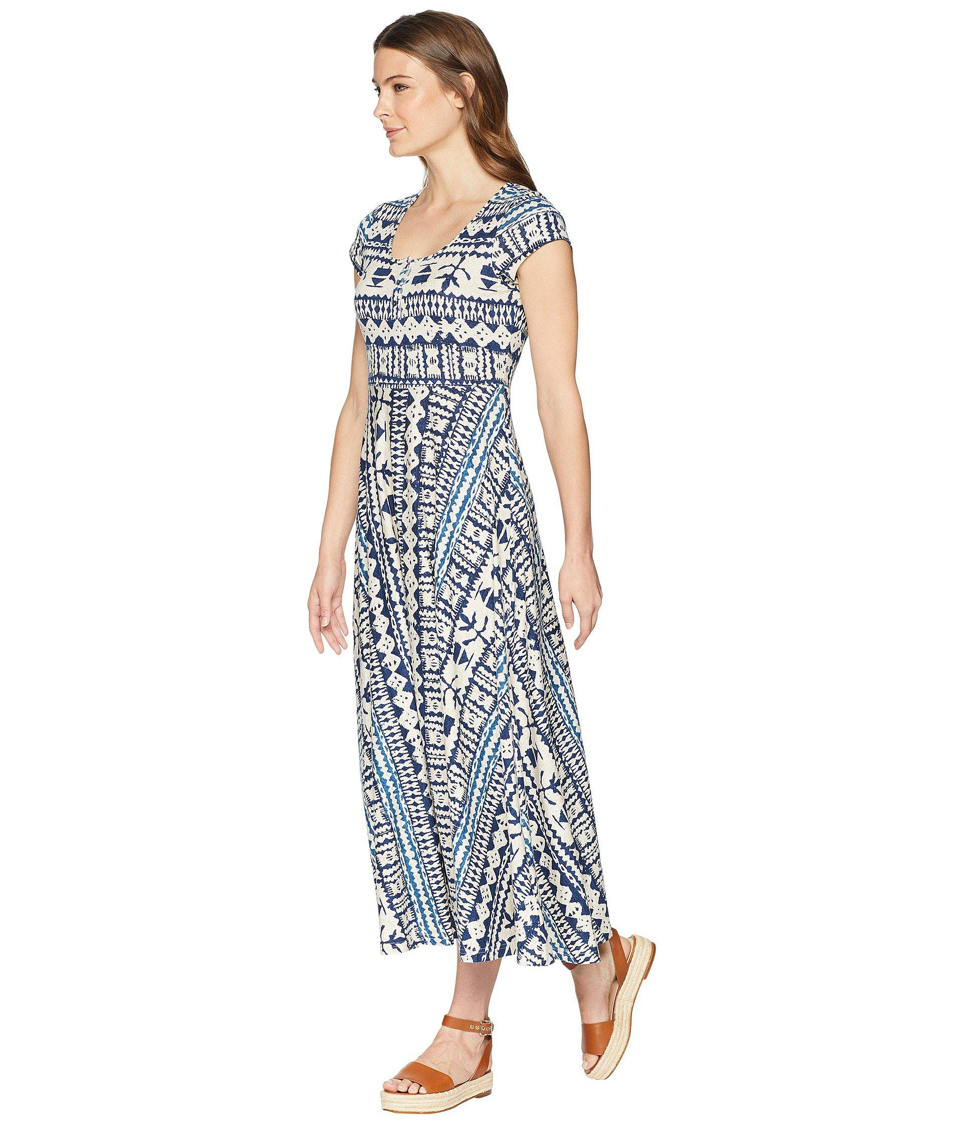 3cac693878f Lyst - Chaps Short Sleeve Batik Cotton Jersey Maxi Dress in Blue - Save 11%