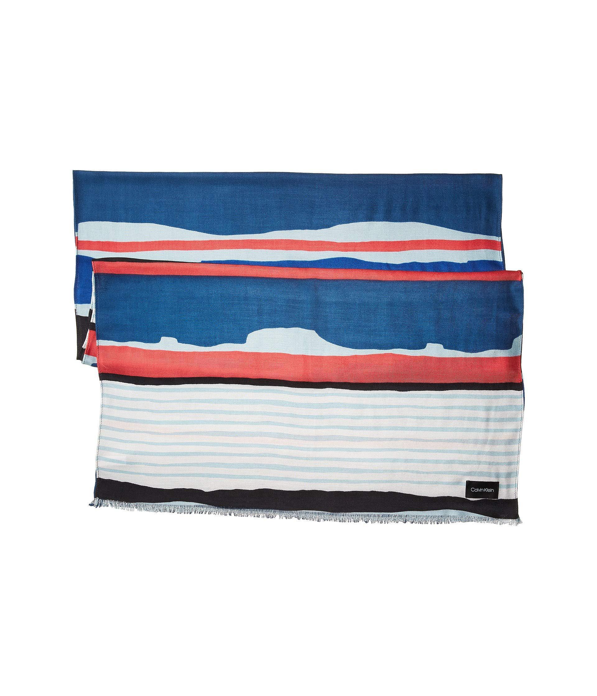 Lyst - Calvin Klein Painterly Colorblock Stripe Pashmina in Blue - Save  14.285714285714292% 672e49d59e3