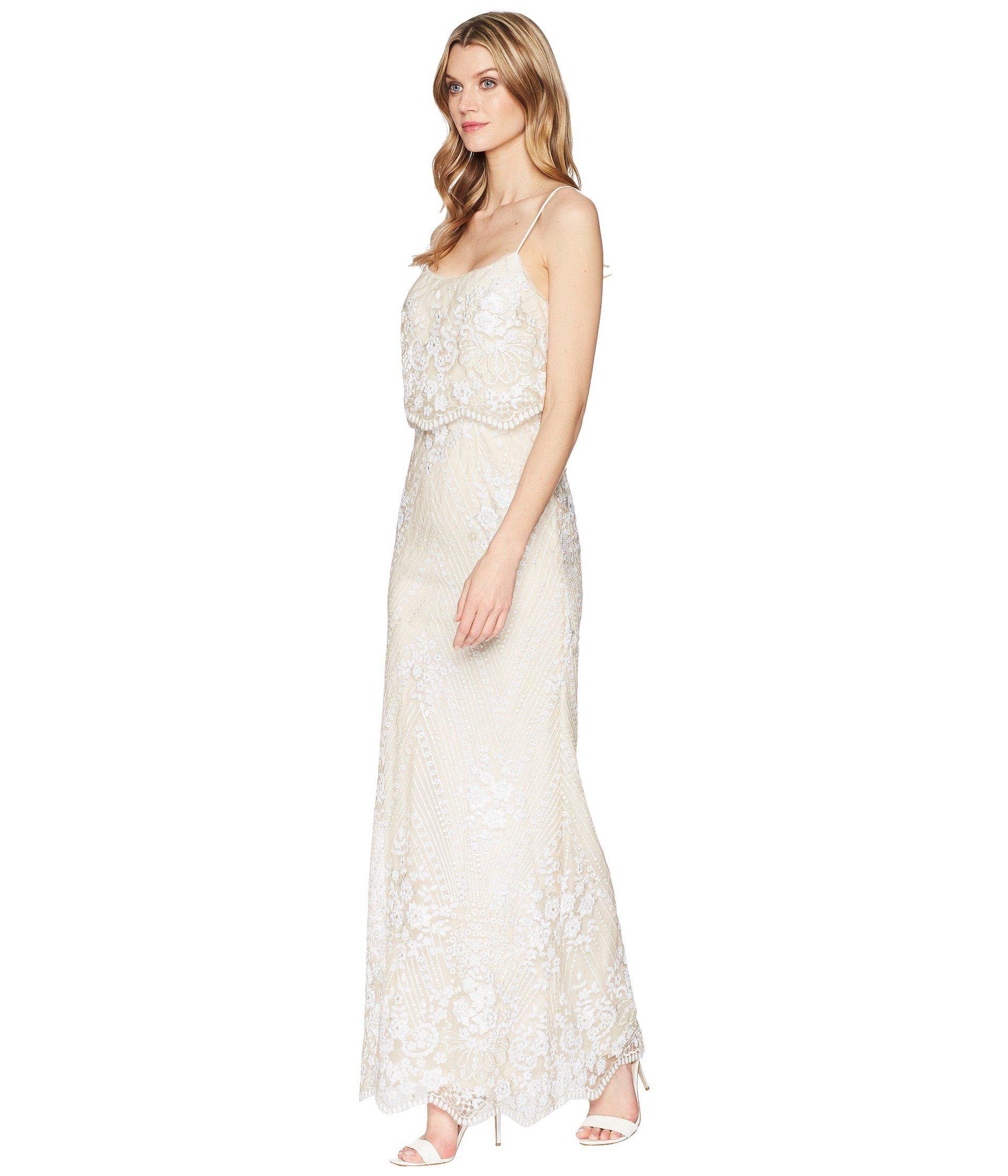 a6f45146074 Adrianna Papell Sequin Popover Gown in White - Lyst