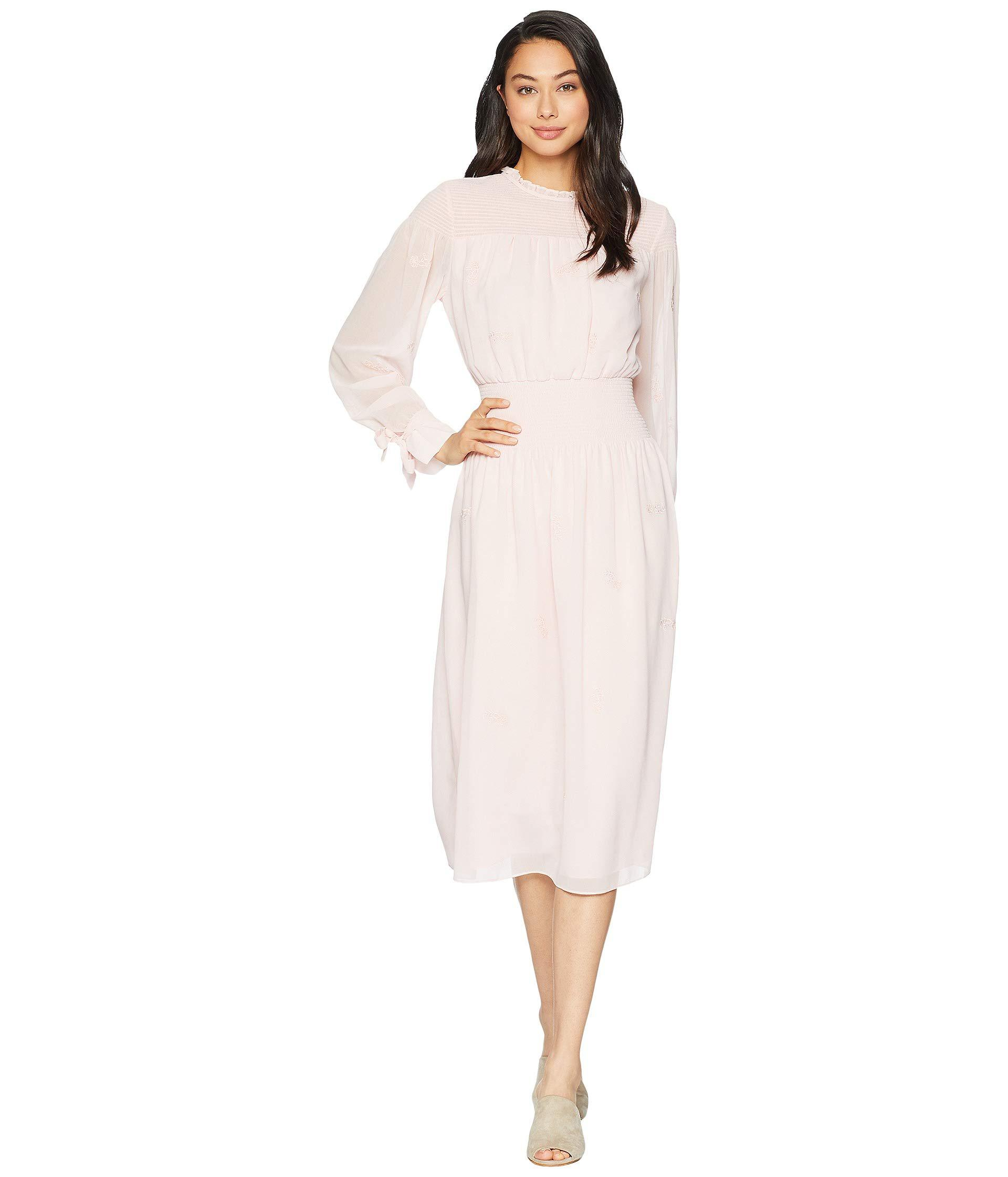 1d5628a4bdc8 Lyst - Juicy Couture Smocked Embroidered Georgette Midi Dress in Pink