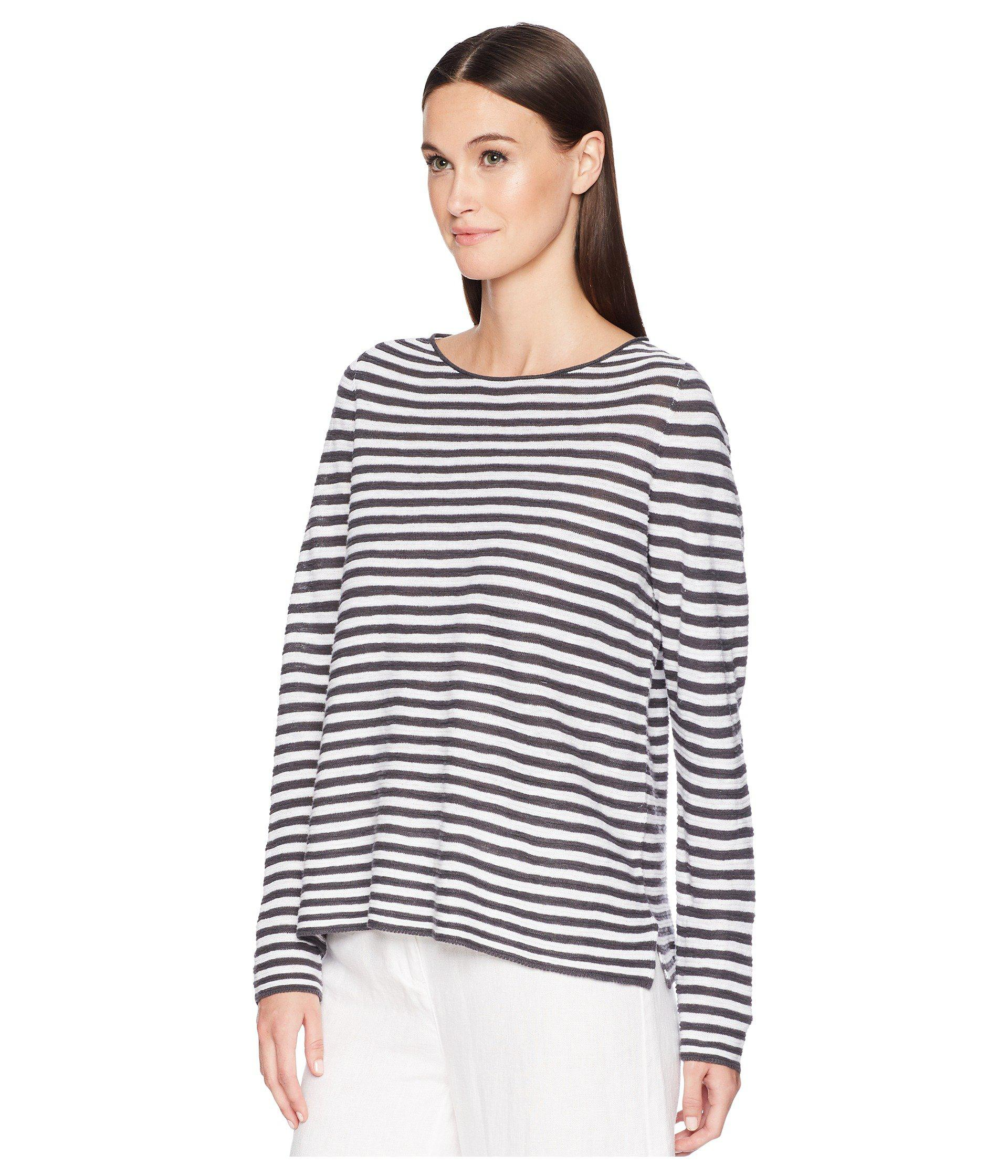 46573807c6b0be Lyst - Eileen Fisher Organic Linen Cotton Stripe Top - Save 49%