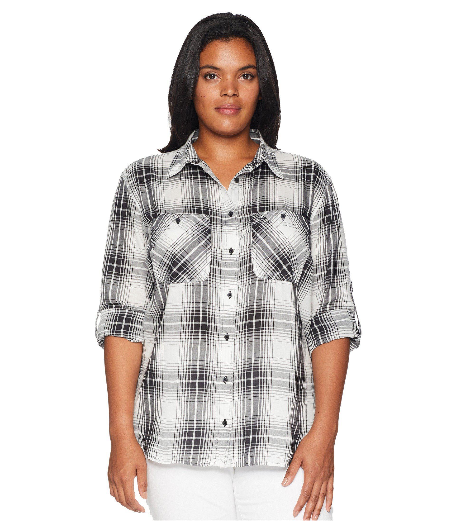 cb93cc72 Lauren by Ralph Lauren. Women's Black Plus Size Plaid Button Down Shirt