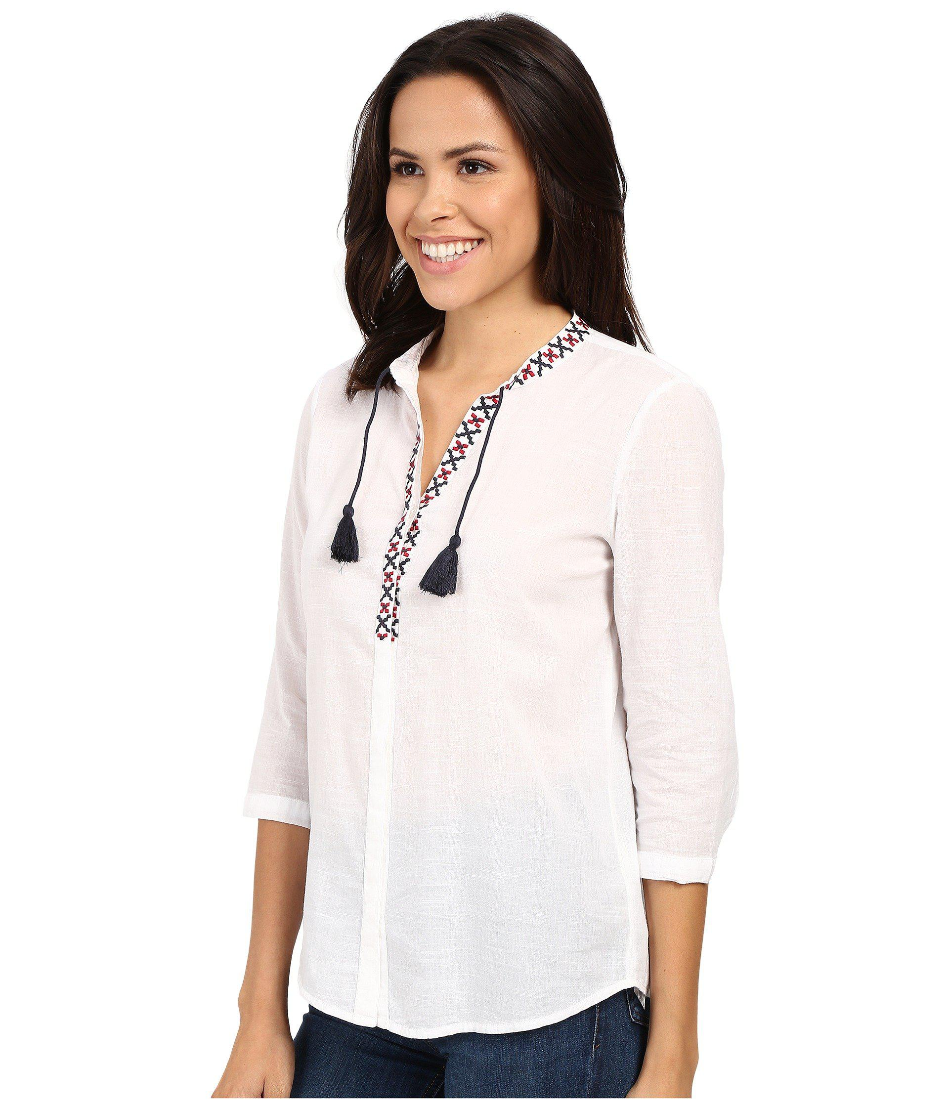 8a5b1fe08f11dd Lyst - Mavi Jeans 3 4 Sleeve Embroidered Tassle Top in White