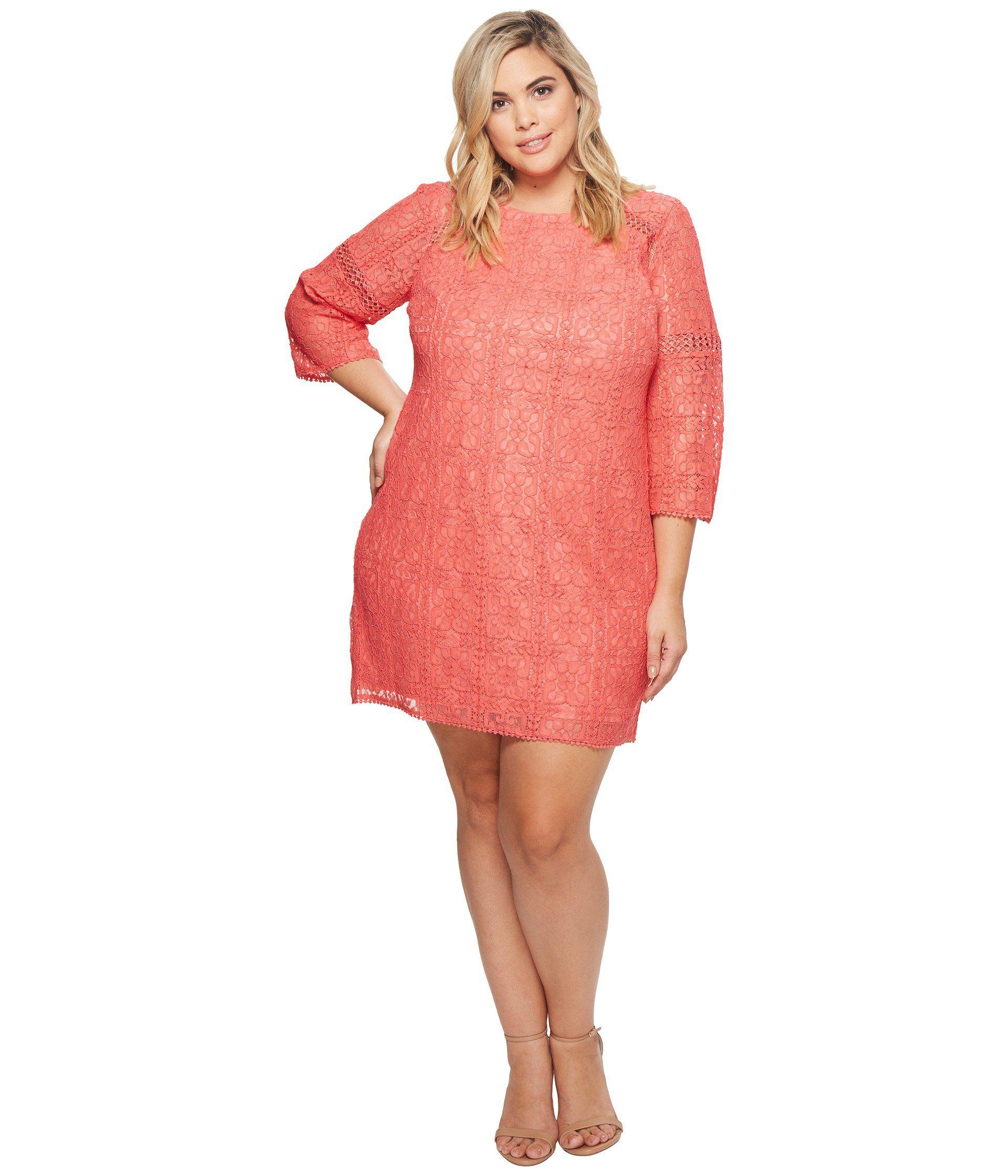 3e2f177401750 Adrianna Papell. Women s Pink Plus Size Marni Lace 3 4 Sleeve Shift Dress