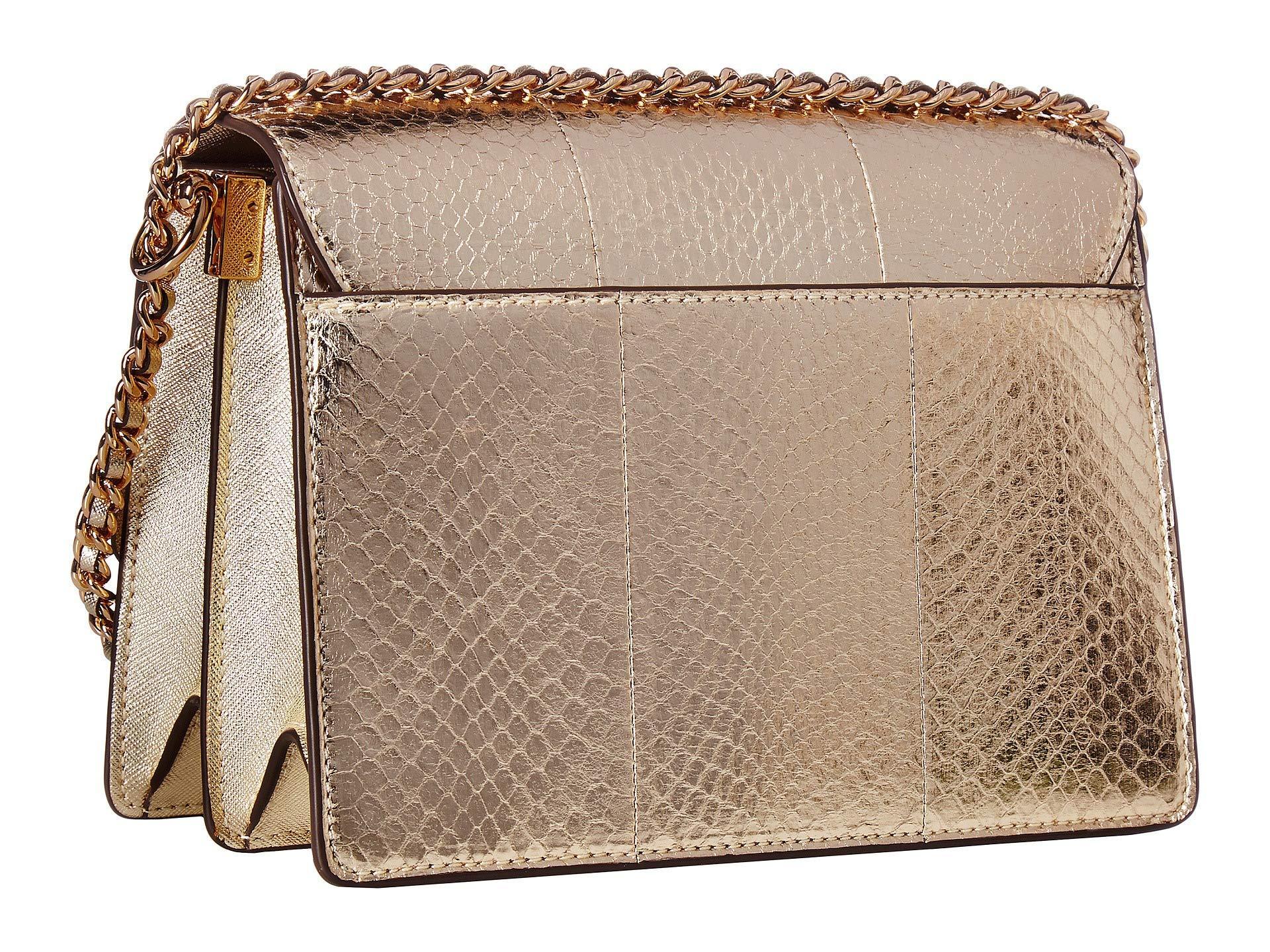 a71d270a77d48 Tory Burch - Metallic Robinson Exotic Convertible Shoulder Bag - Lyst. View  fullscreen