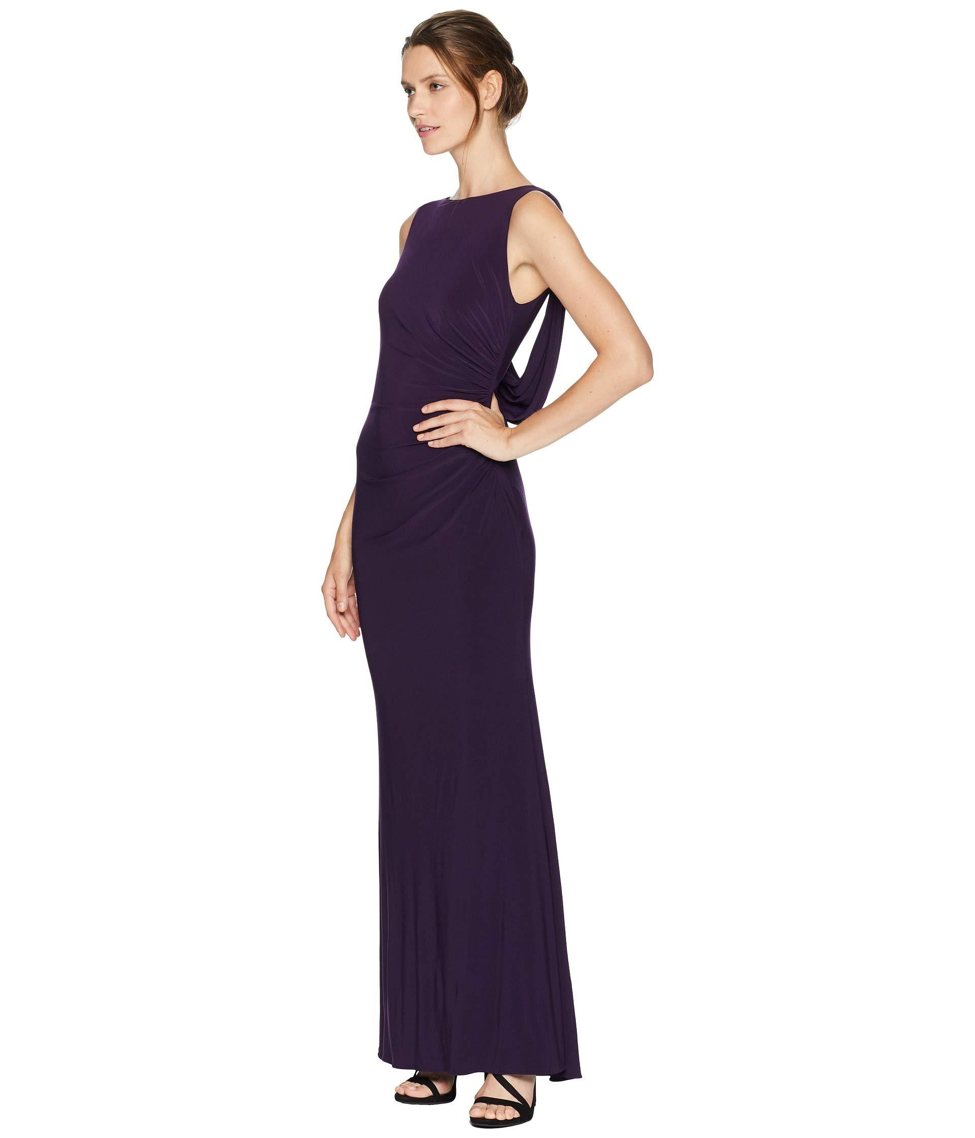 0c945896e175 Adrianna Papell Side Draped Jersey Gown in Purple - Lyst