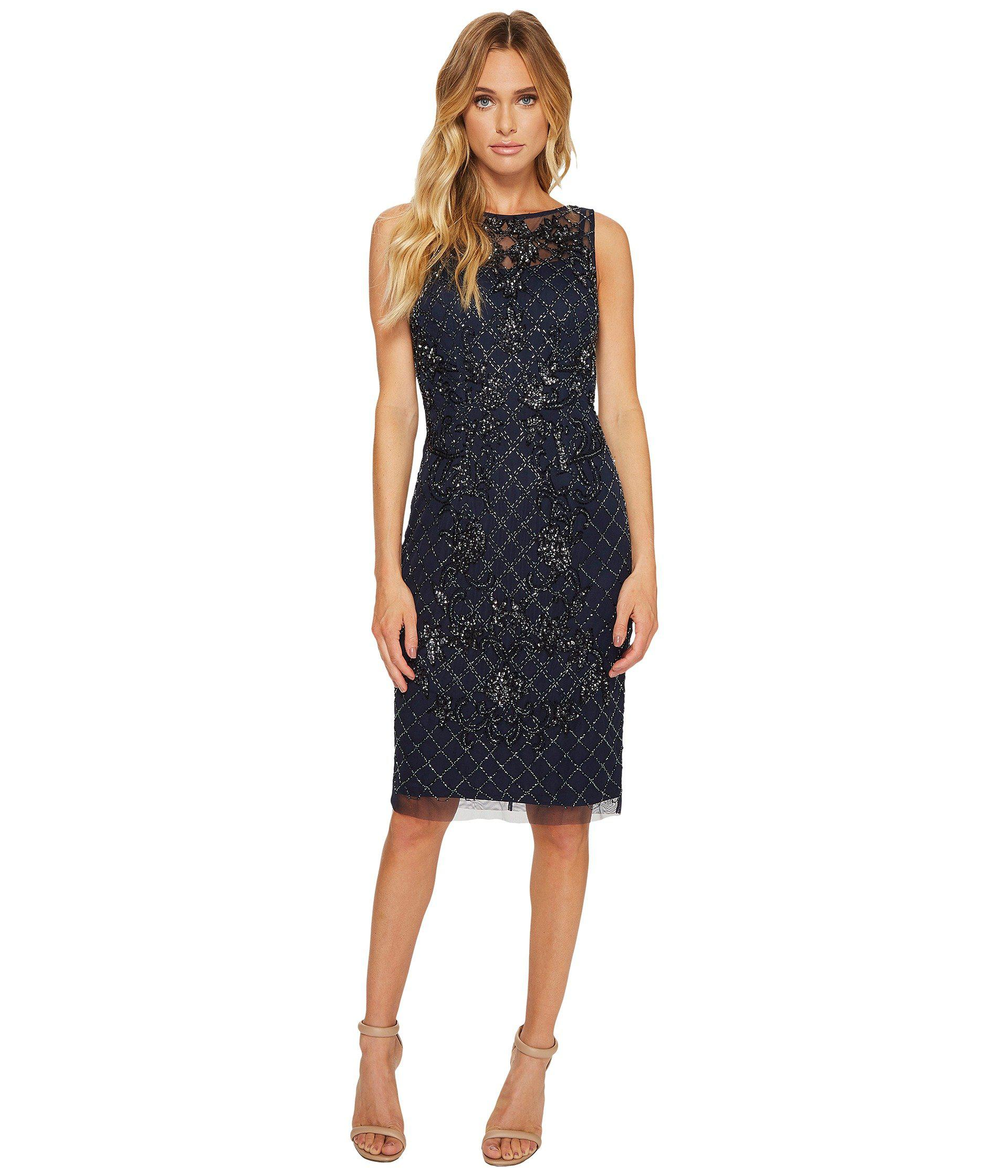0cfa976baf6 Adrianna Papell Sleeveless Beaded Cocktail Dress With Illusion in ...