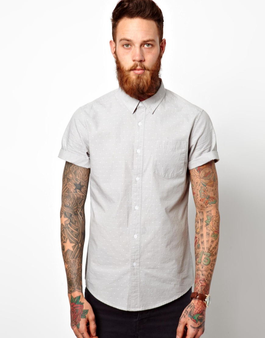 Lyst Asos Chambray Dobby Shirt In Short Sleeve In Gray
