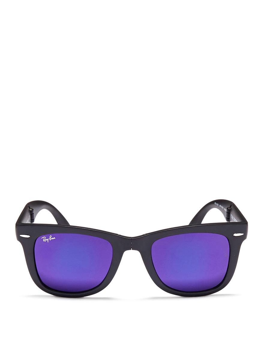 Ray-Ban 'round Folding Flash' Mirror Sunglasses in Blue