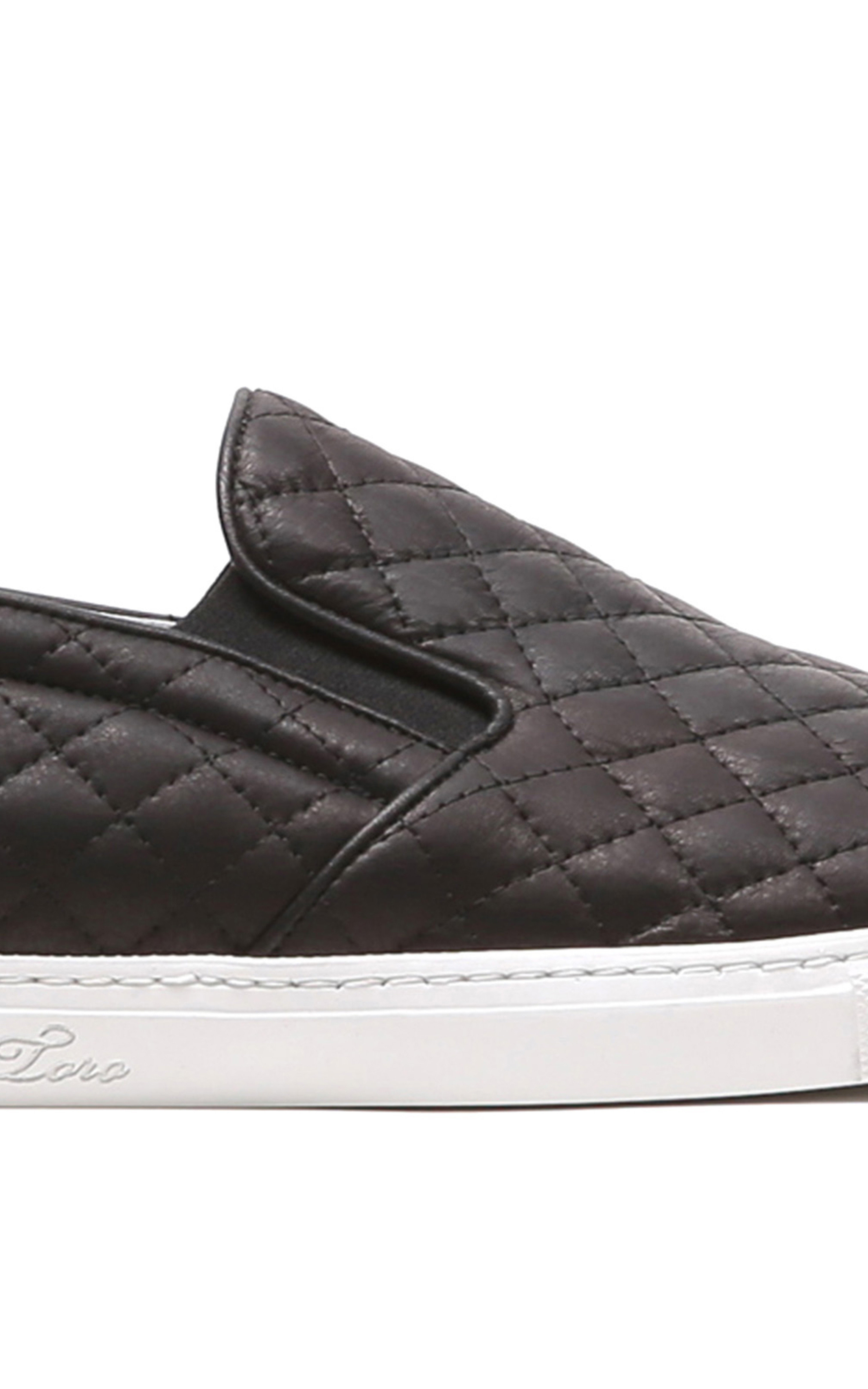 72a3da45401c Lyst - Del Toro Black Quilted Leather Slip On Sneaker with White ...