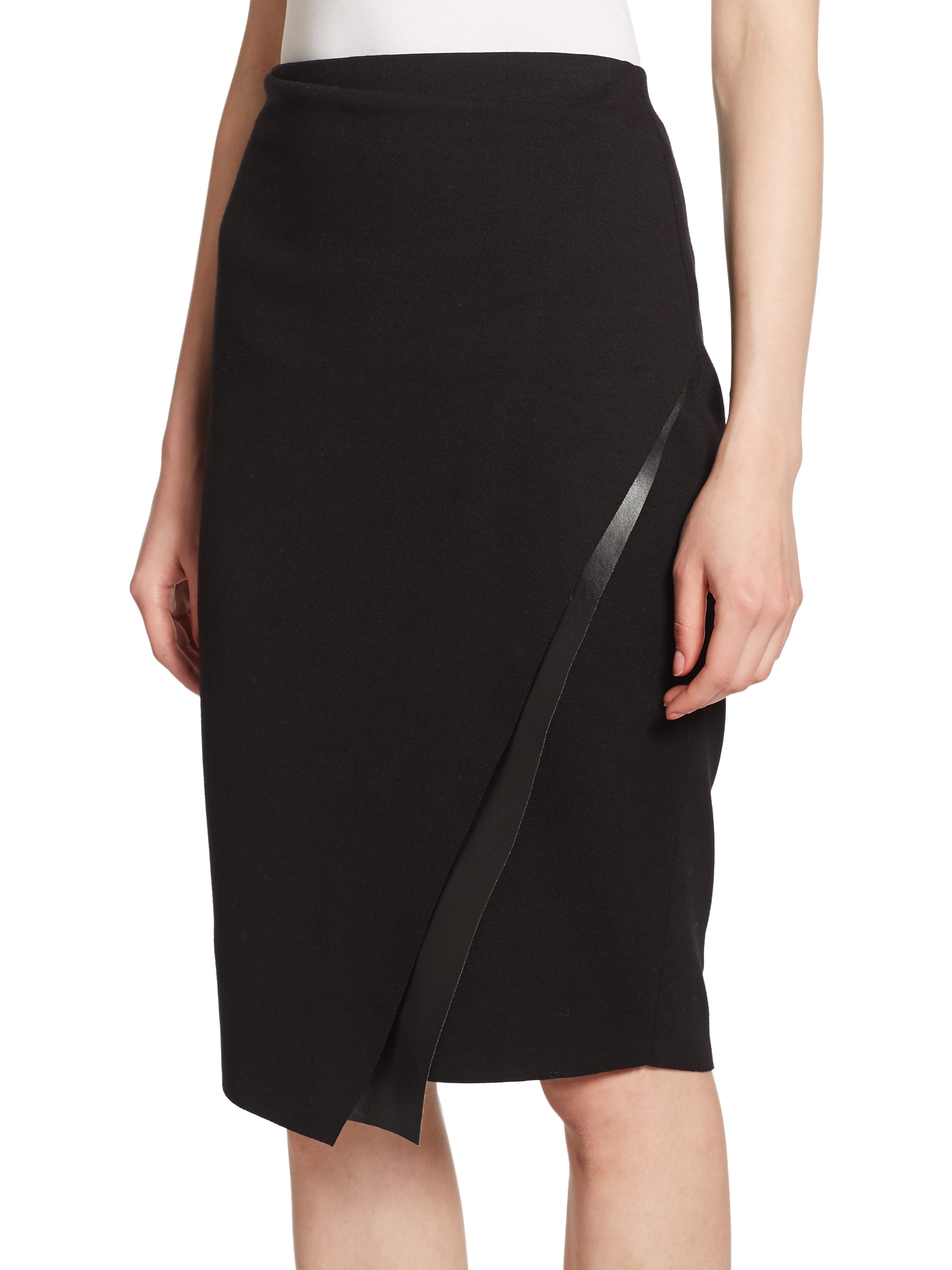 Lyst Bailey 44 Meryl Faux Leather Trim Skirt In Black