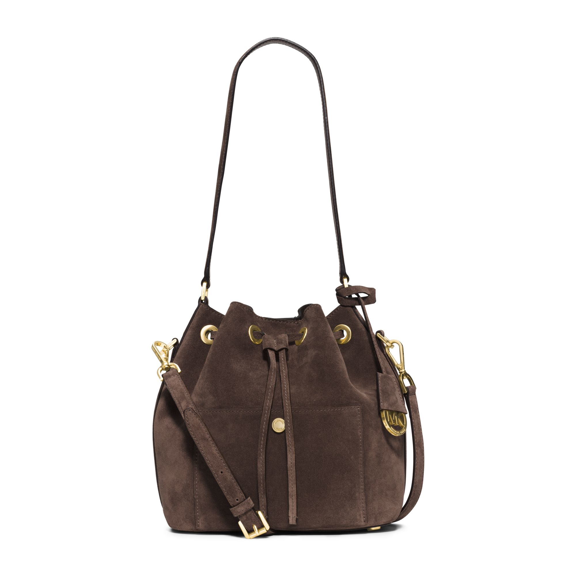 michael kors greenwich suede bucket bag in brown coffee. Black Bedroom Furniture Sets. Home Design Ideas