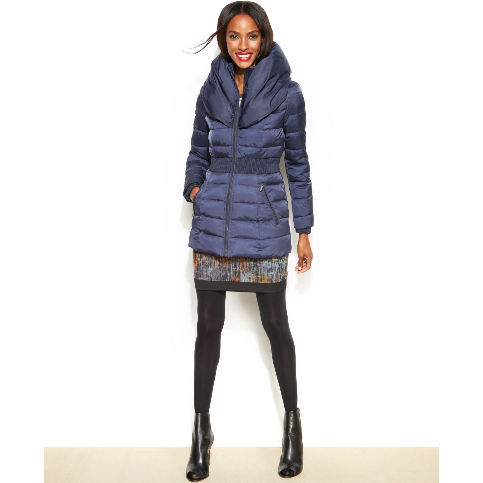 997f635ad065 Laundry by Shelli Segal Pillowcollar Hooded Down Puffer Coat in Blue ...