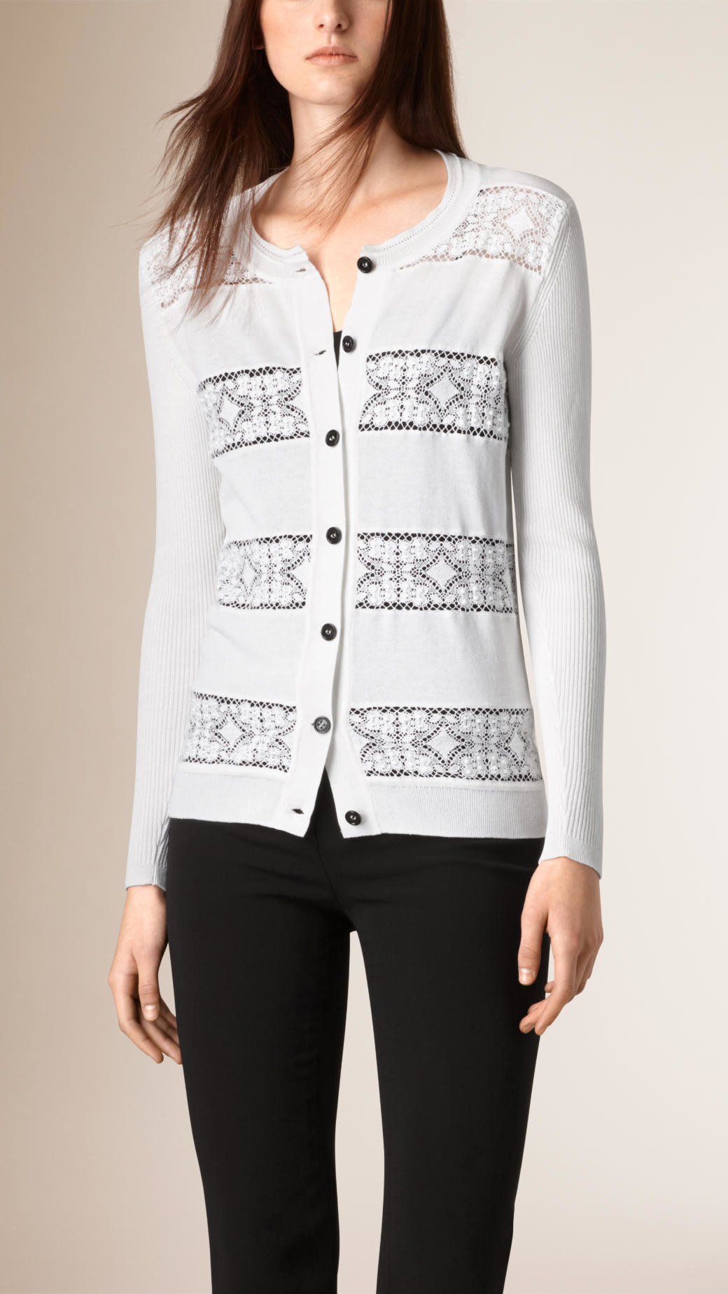 Burberry English Lace Detail Cotton Cardigan White in White | Lyst