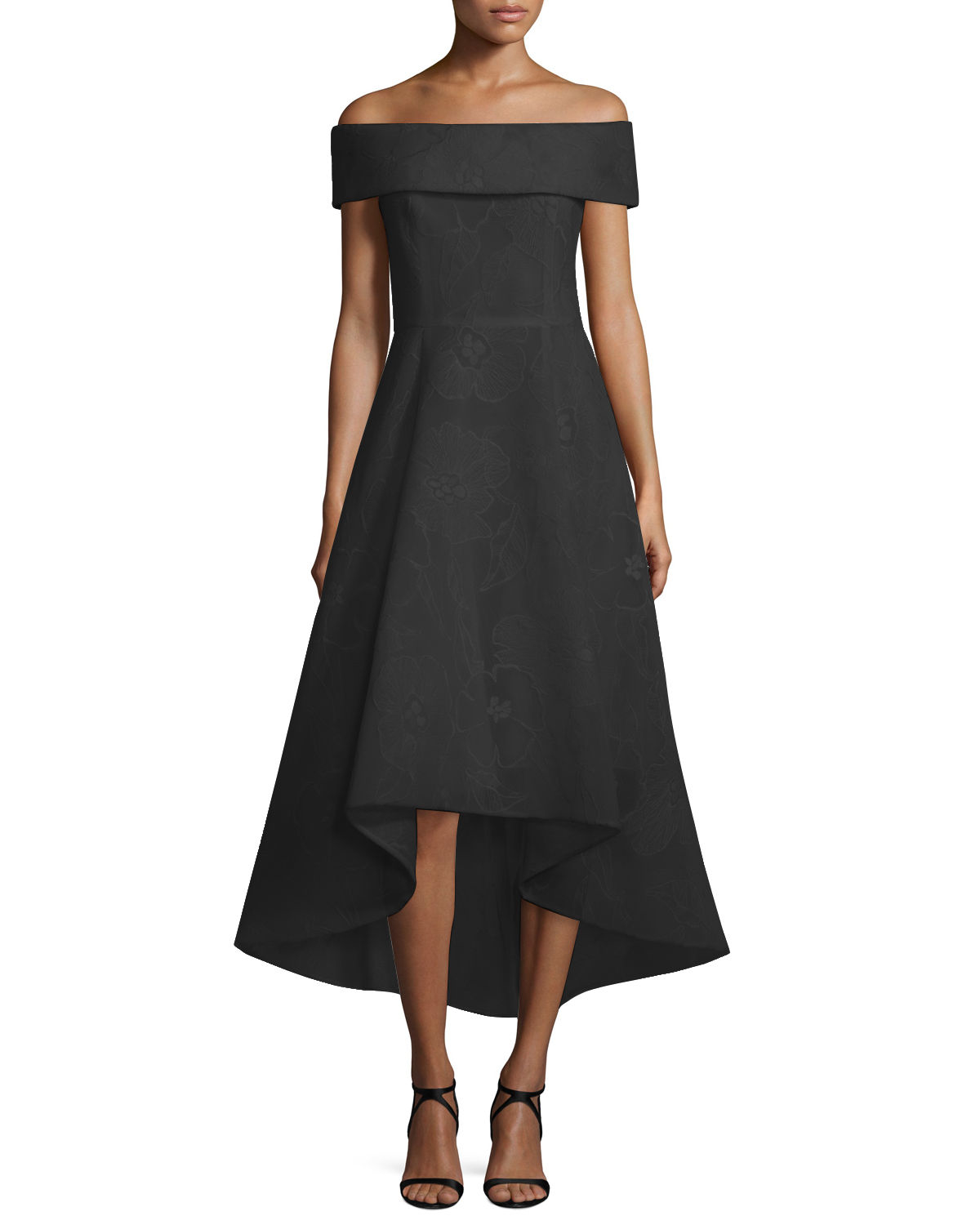 Teri Jon Off The Shoulder High Low Gown In Black Lyst
