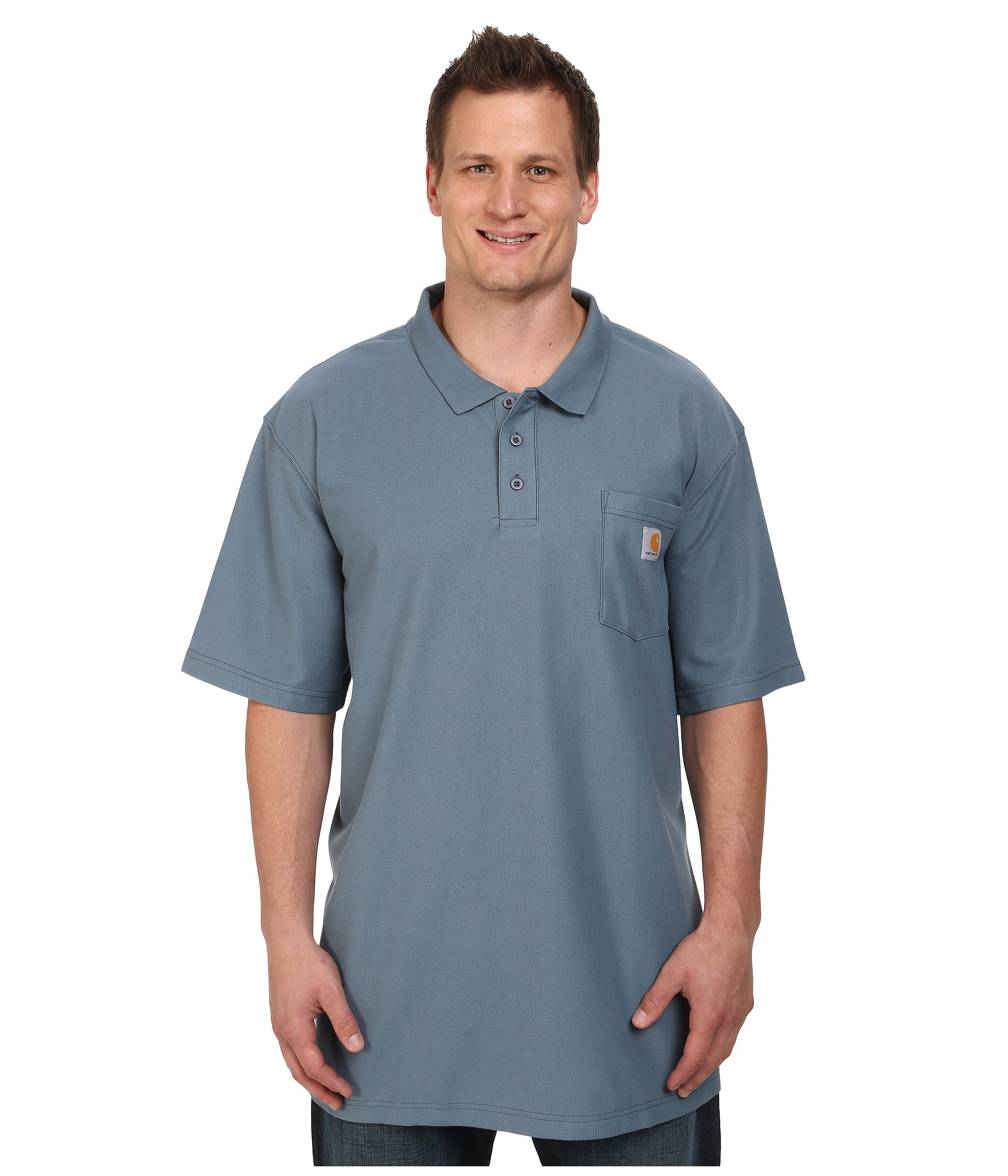 Carhartt big tall contractors work pocket polo in gray for Big and tall polo shirts with pockets