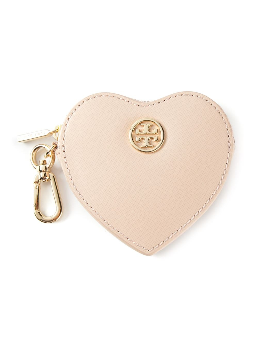 d196fda73543 Lyst - Tory Burch Heart Coin Case Key Fob in Pink