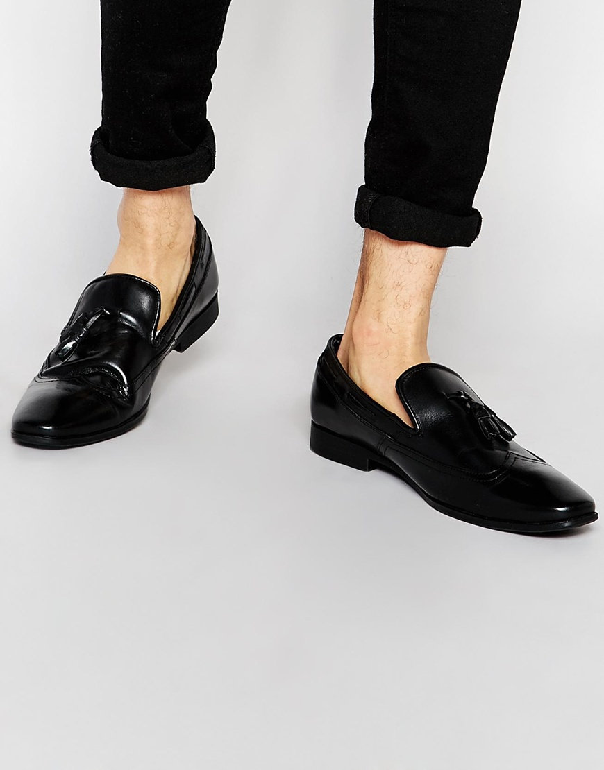 Loafers With Gunmetal Tassel - Black Frank Wright