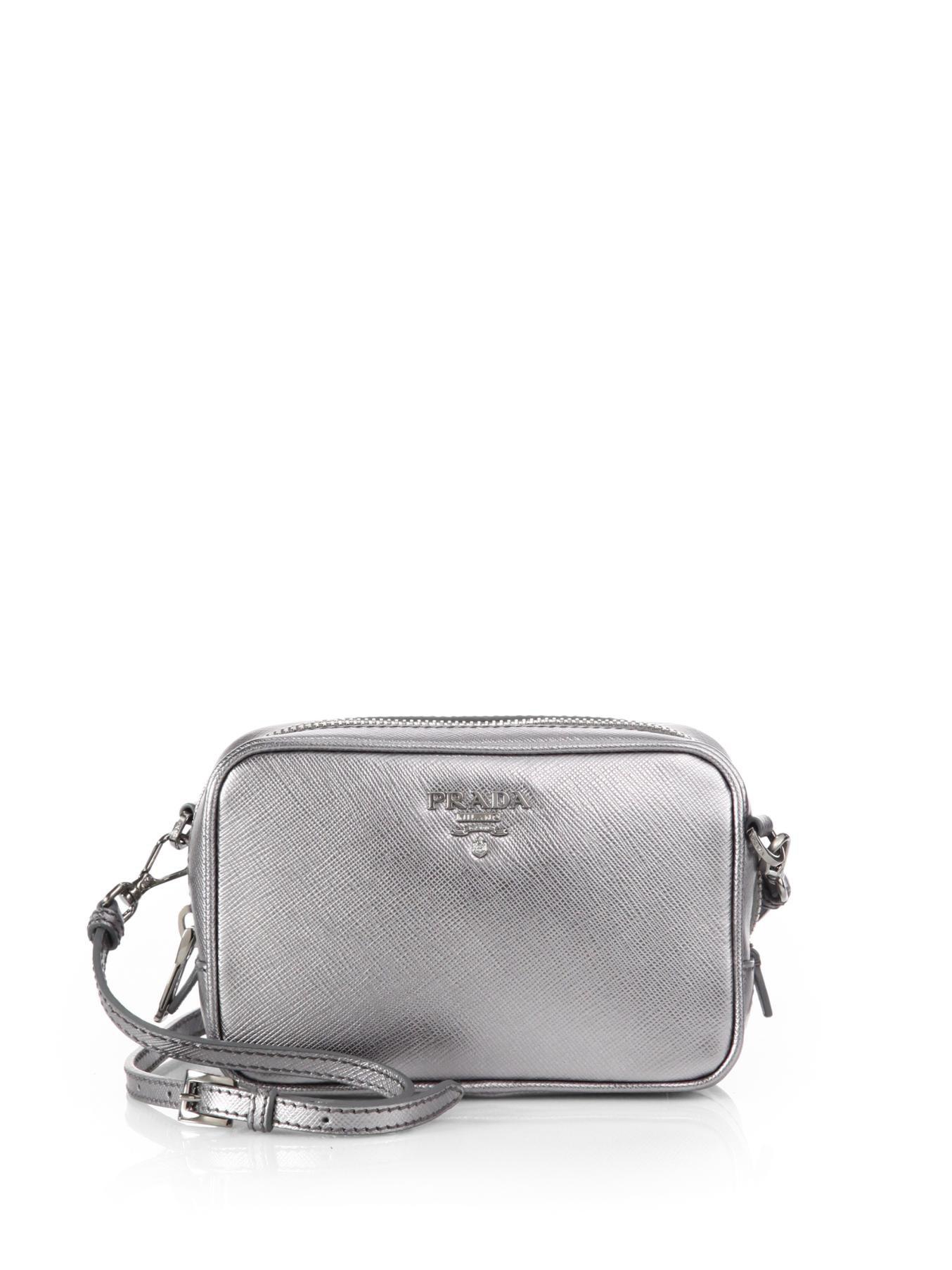 ... new zealand lyst prada saffiano leather camera bag in metallic 49578  5507f 7e7ce9785568e