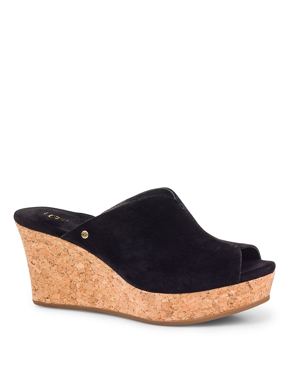Open Toe Suede Shoes Heels Platform Black