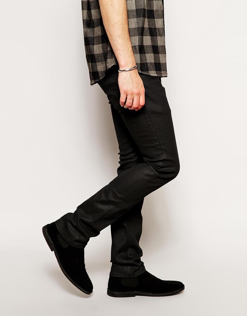 Nudie Jeans Tube Tom Skinny Fit Back In Black Coated In -7952