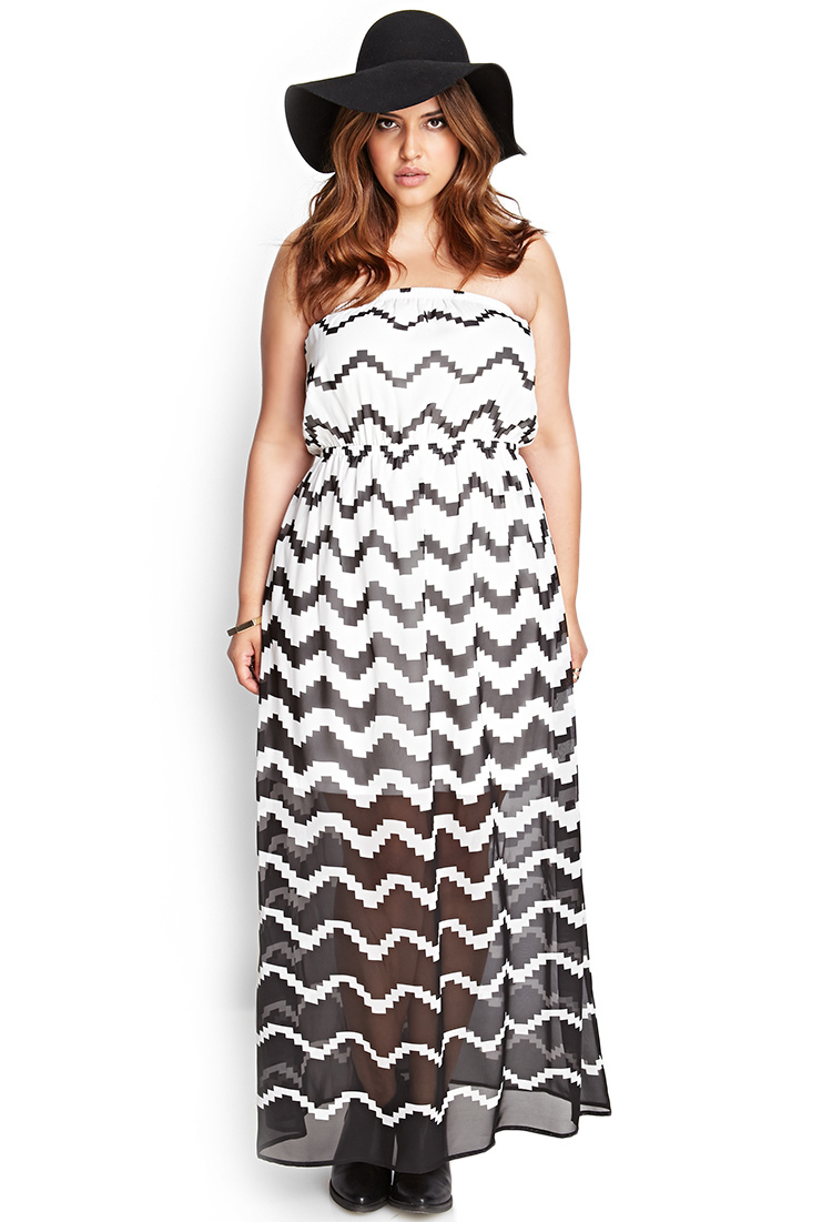 Forever 21 Ombre Zigzag Maxi Dress in Black | Lyst